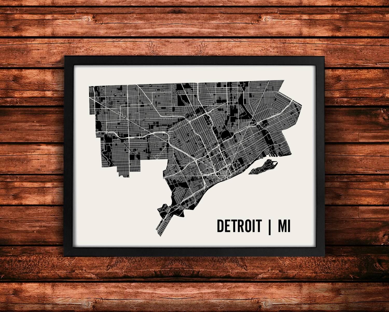 Detroit Map Artwork Map Of Detroit Detroit Michigan Map Regarding 2017 Map Wall Artwork (View 17 of 20)