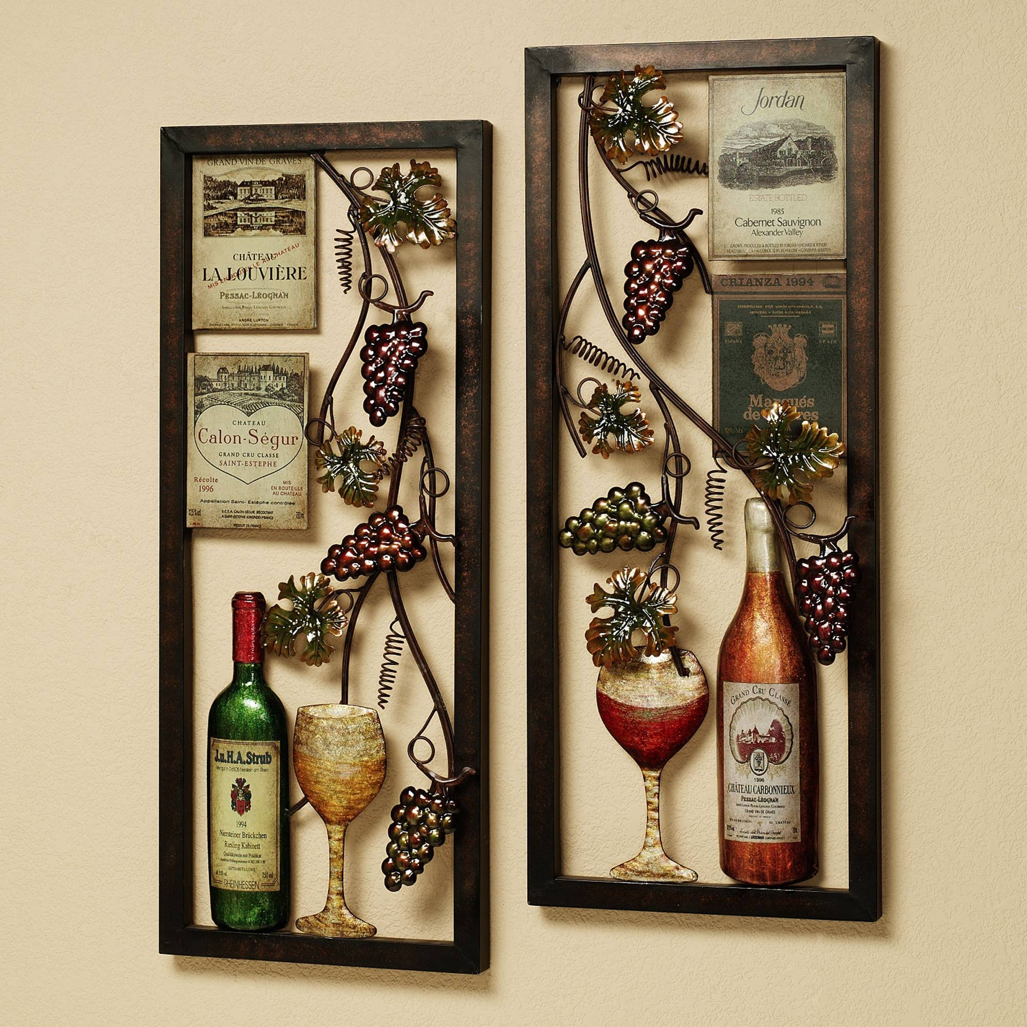 Divine Double Square Metal Artworks Wine And Bottles Kitchen Wall Throughout Most Recently Released Metal Wall Art For Kitchen (View 7 of 20)