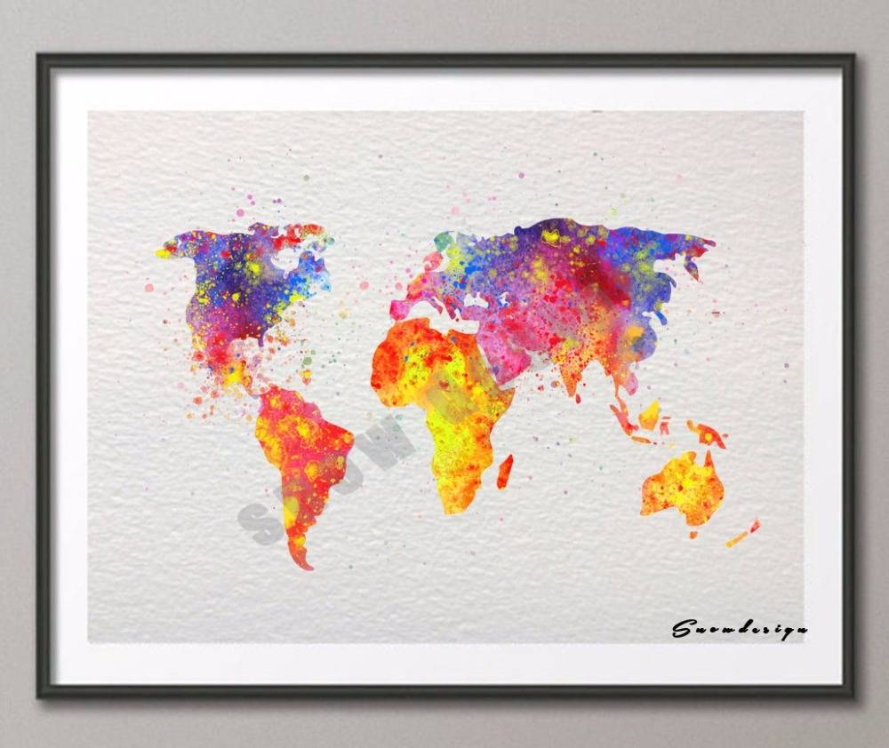 Diy Original Watercolor World Map Wall Art Canvas Painting Poster Throughout 2017 World Map Wall Art Print (View 6 of 20)
