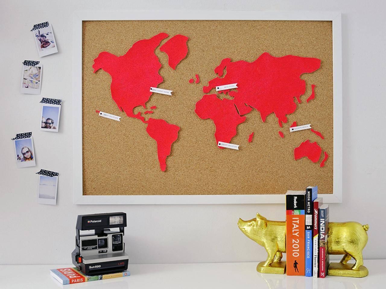 Diy Wall Art: Make A Custom Corkboard World Map | Hgtv In Recent Custom Map Wall Art (View 9 of 20)