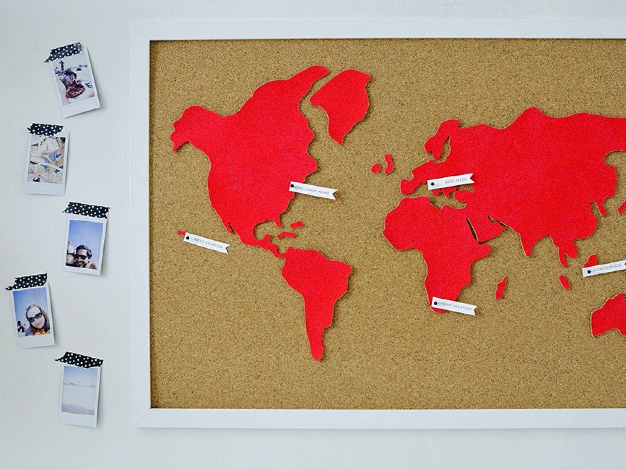 Diy Wall Art: Make A Custom Corkboard World Map | Hgtv With Current Custom Map Wall Art (View 18 of 20)