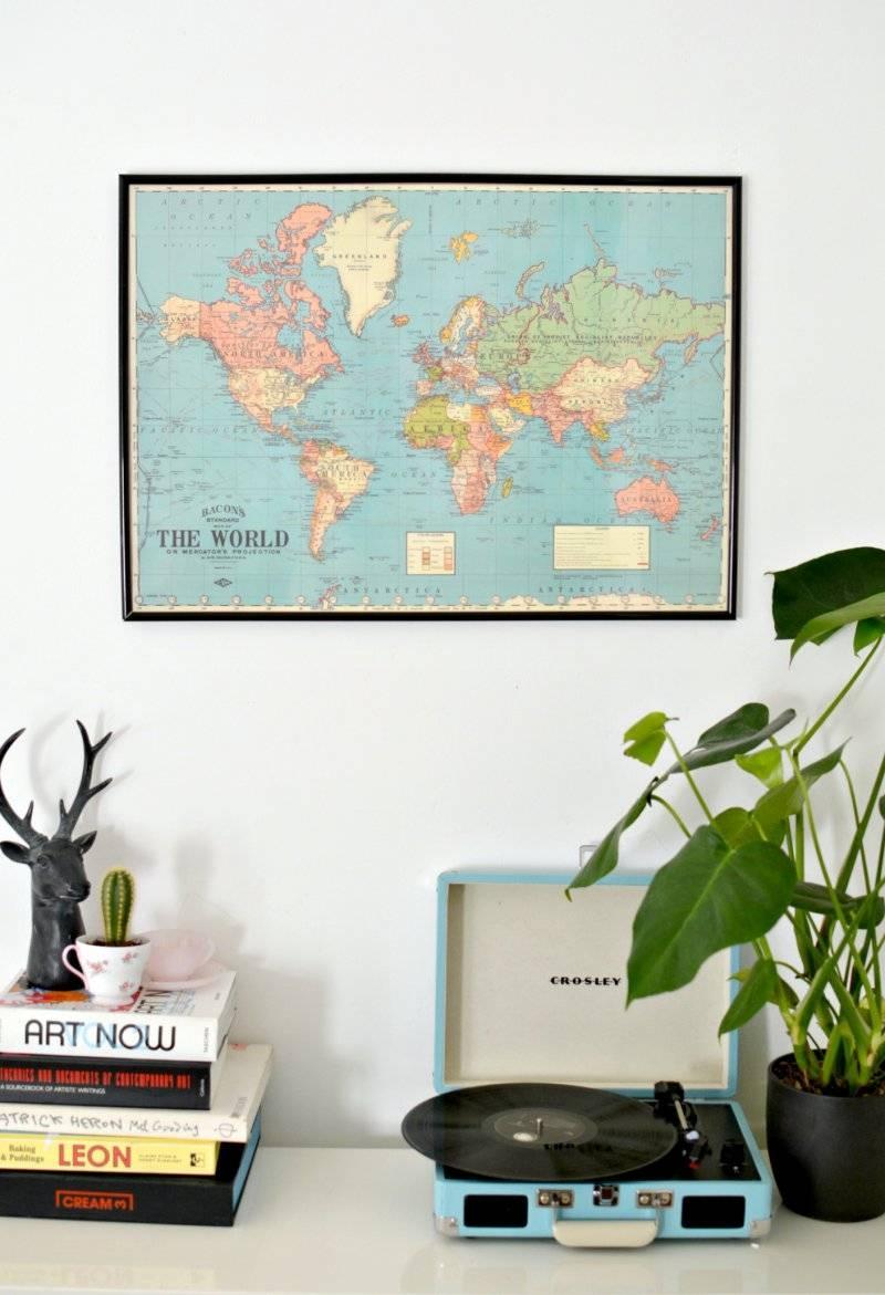 Diy World Map Wall Art | Burkatron Throughout Current Framed Map Wall Art (View 6 of 20)