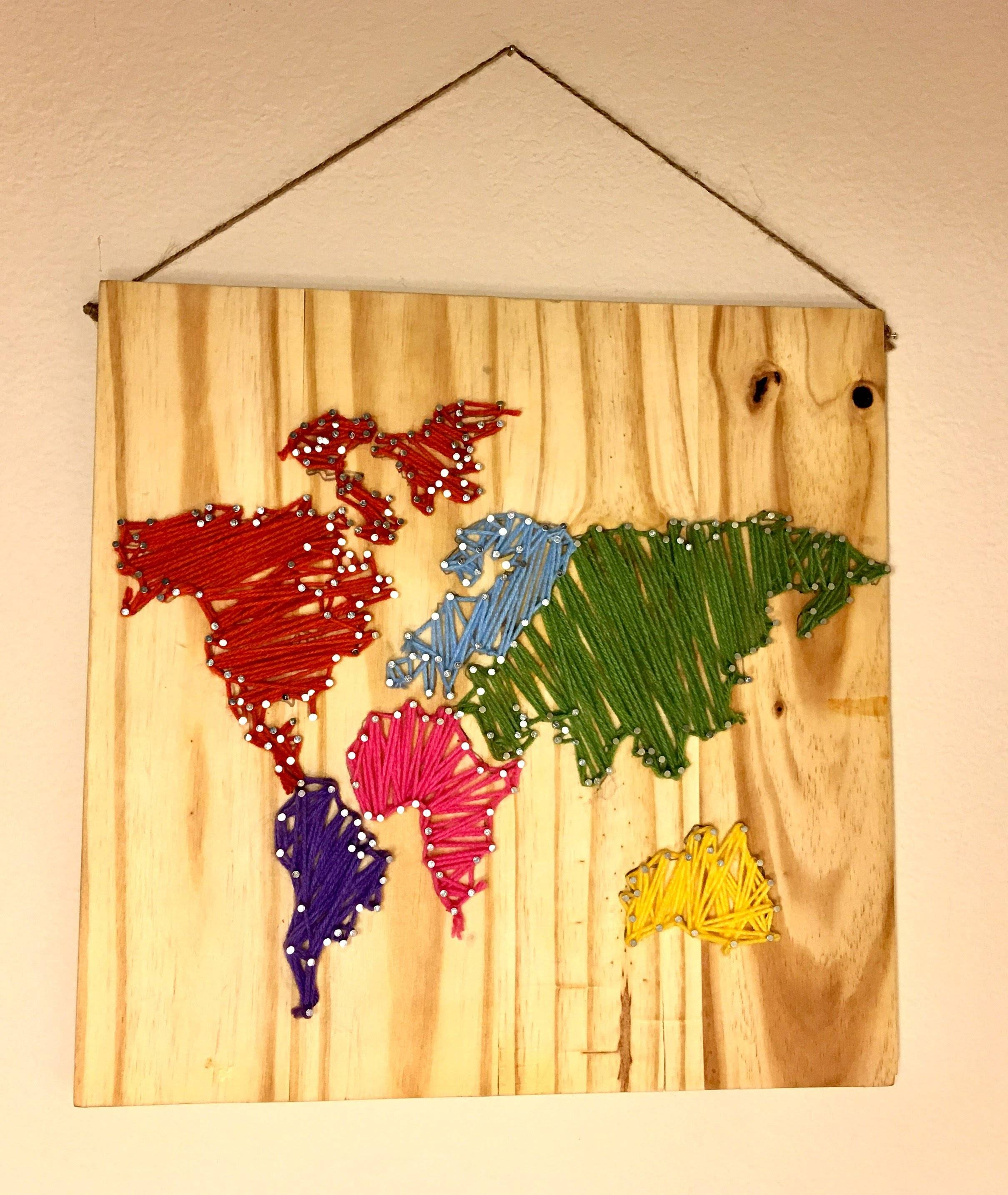 Diy World Map Wall Nail String Art [timelapse] – Youtube In 2018 String Map Wall Art (View 2 of 20)