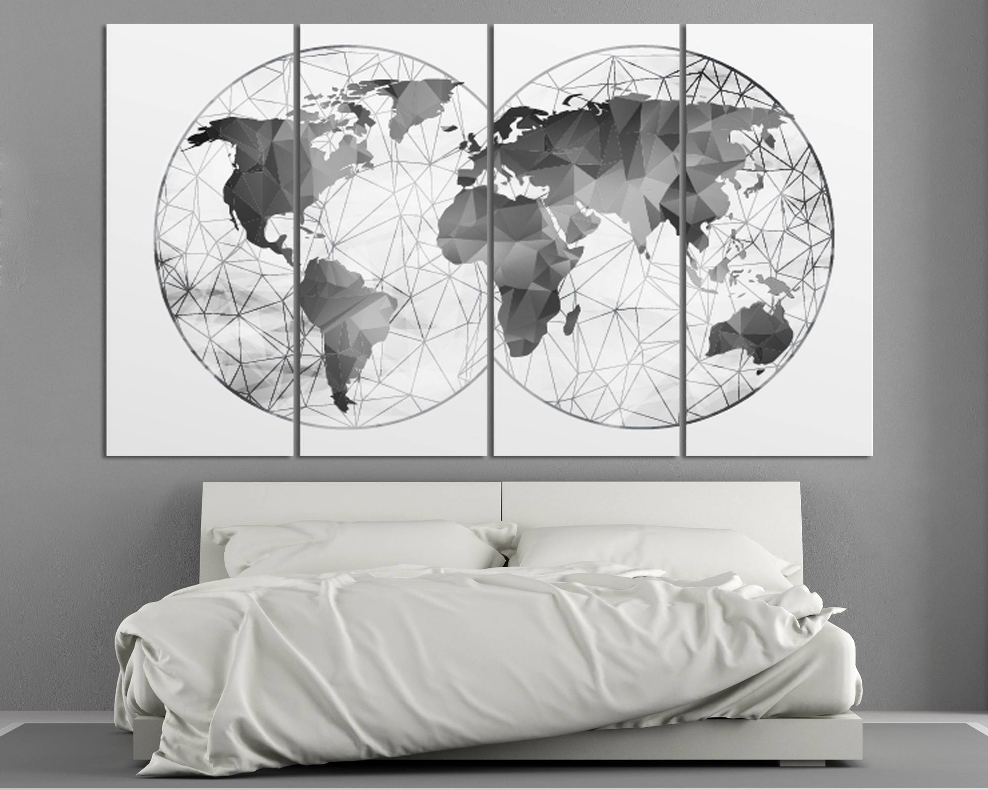 Double Hemisphere Black & White Abstract World Map At Regarding Best And Newest Abstract Map Wall Art (View 2 of 20)