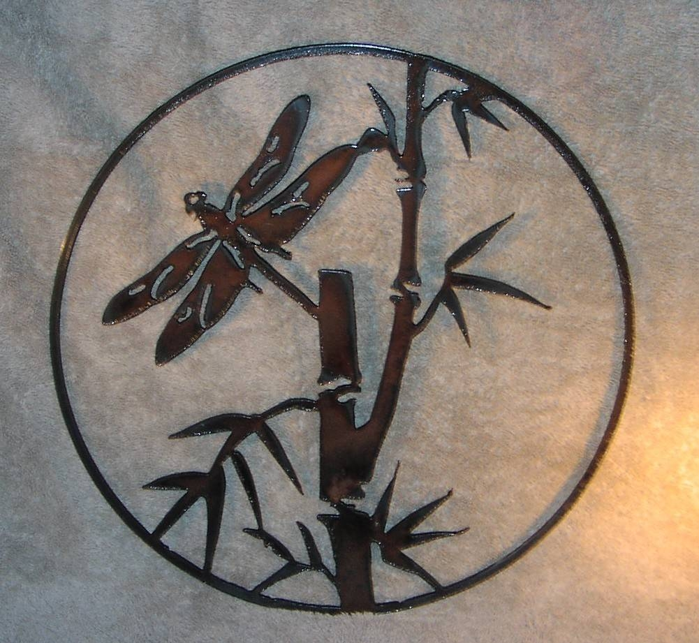 Dragonfly In The Bamboo Metal Wall Decor Suitable For Indoors For Recent Dragonfly Metal Wall Art (View 3 of 20)