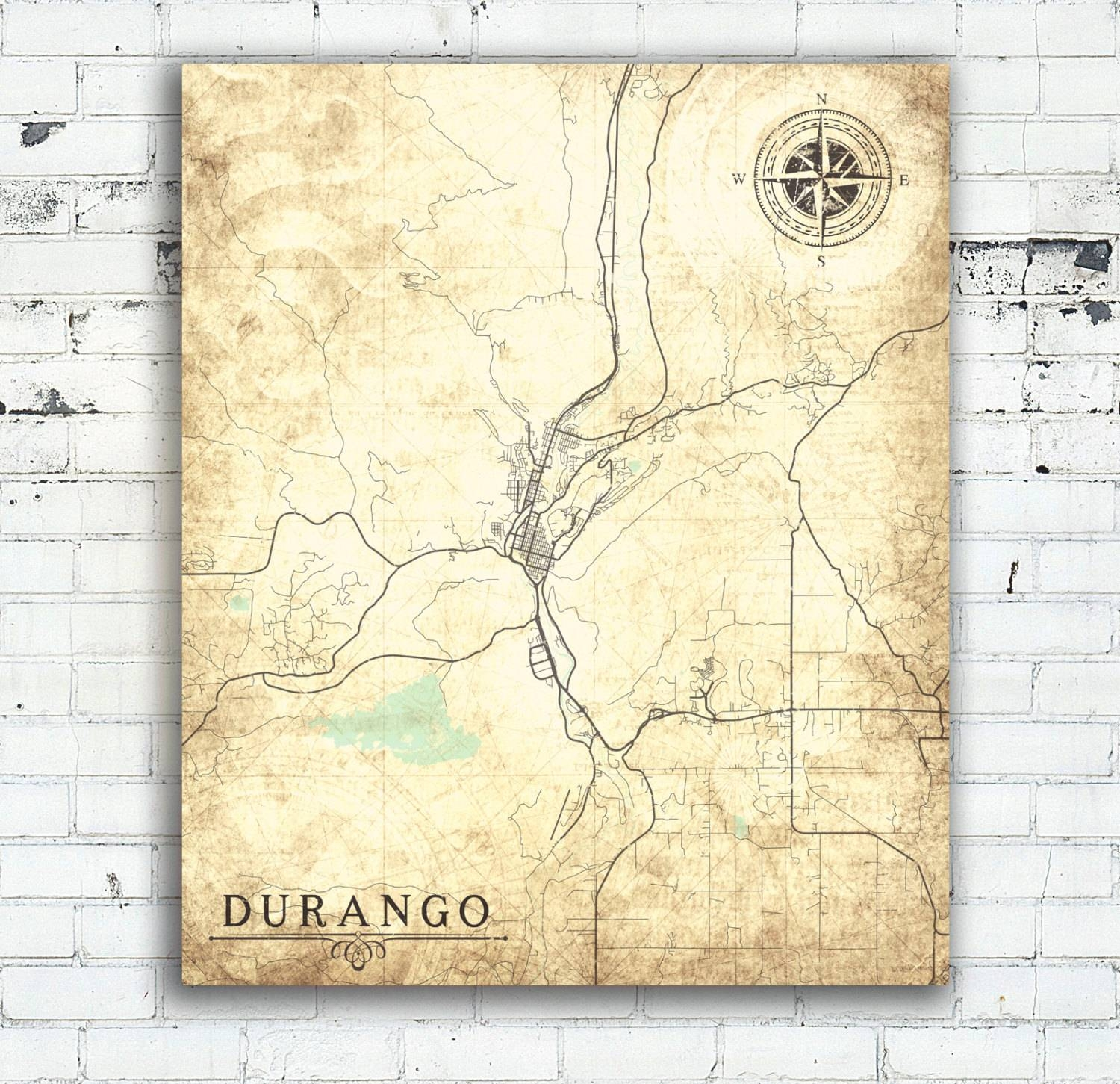 Durango Co Colorado Vintage Map Durango Vintage City Wall Art In Recent Florida Map Wall Art (View 2 of 20)