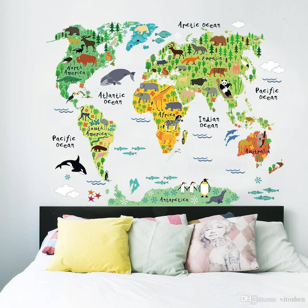 Early Education Wall Stickers Animal World Map Wall Art Stickers Inside 2018 World Map Wall Art Stickers (View 5 of 20)