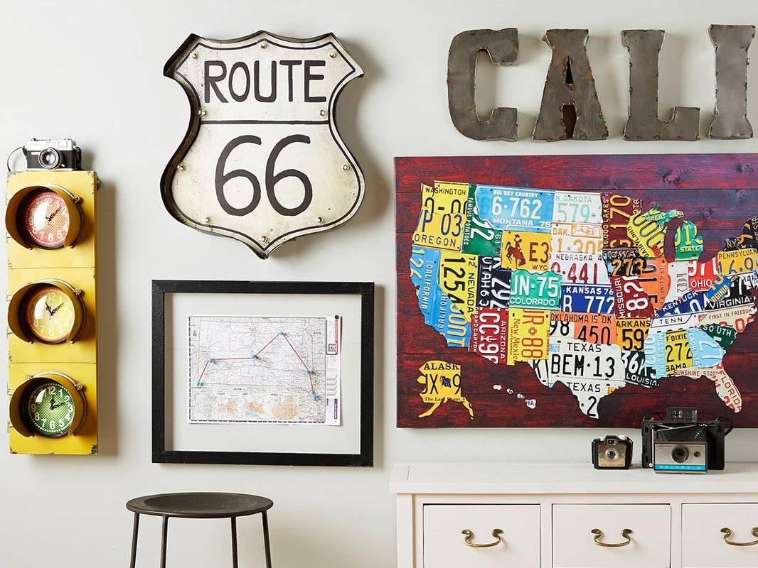 East Urban Home 'usa Recycled License Plate Map Vii'design Pertaining To Best And Newest License Plate Map Wall Art (Gallery 16 of 20)