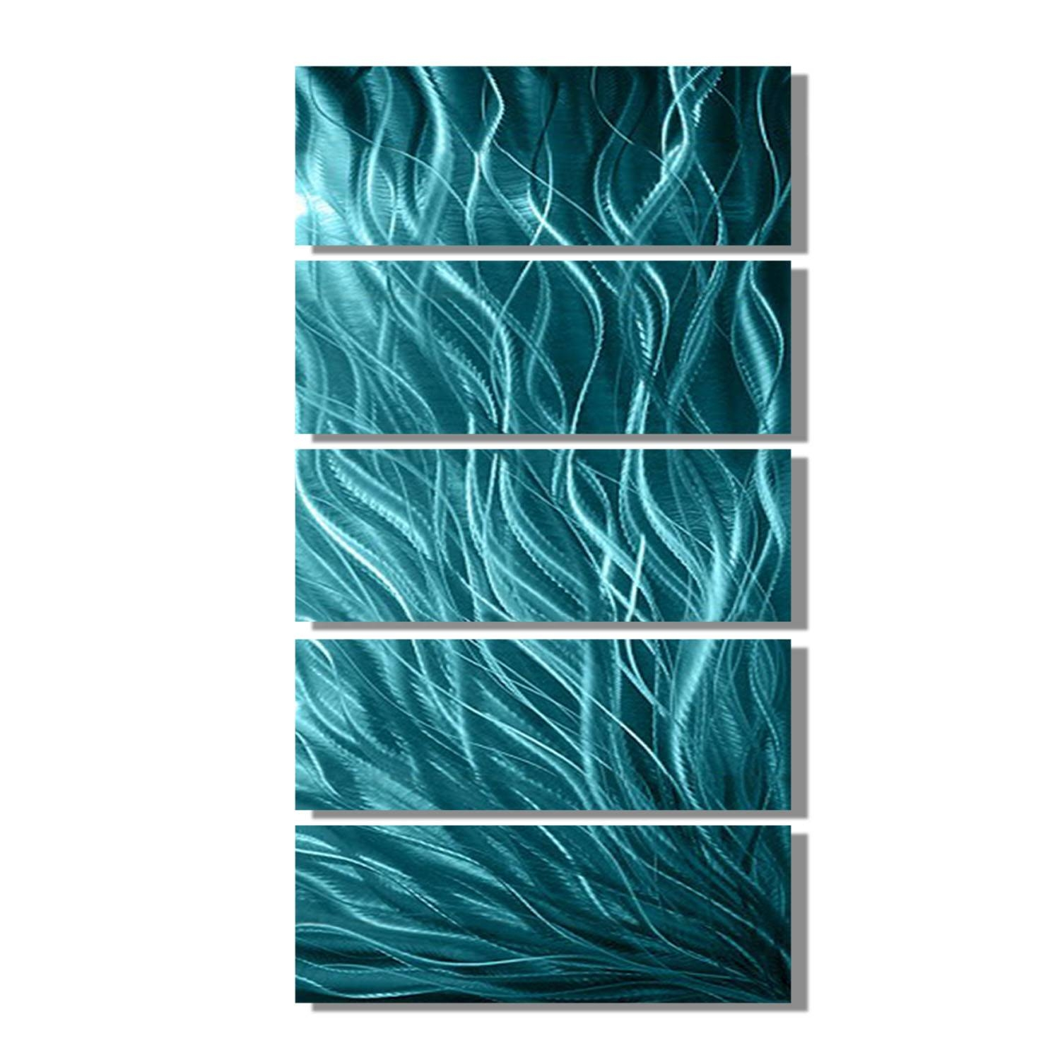 Echo 3 Blues Abstract Metal Wall Art Contemporary Modern Decor Intended For Most Recent Heron Metal Wall Art (View 6 of 20)