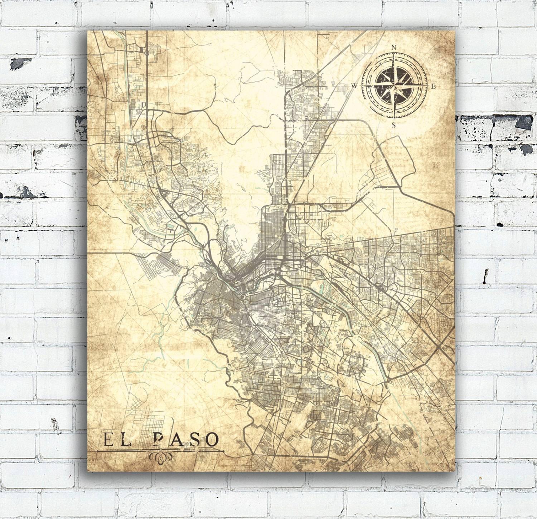 El Paso Tx Canvas Print Texas Tx Vintage Map El Paso City In Most Popular Texas Map Wall Art (Gallery 3 of 20)