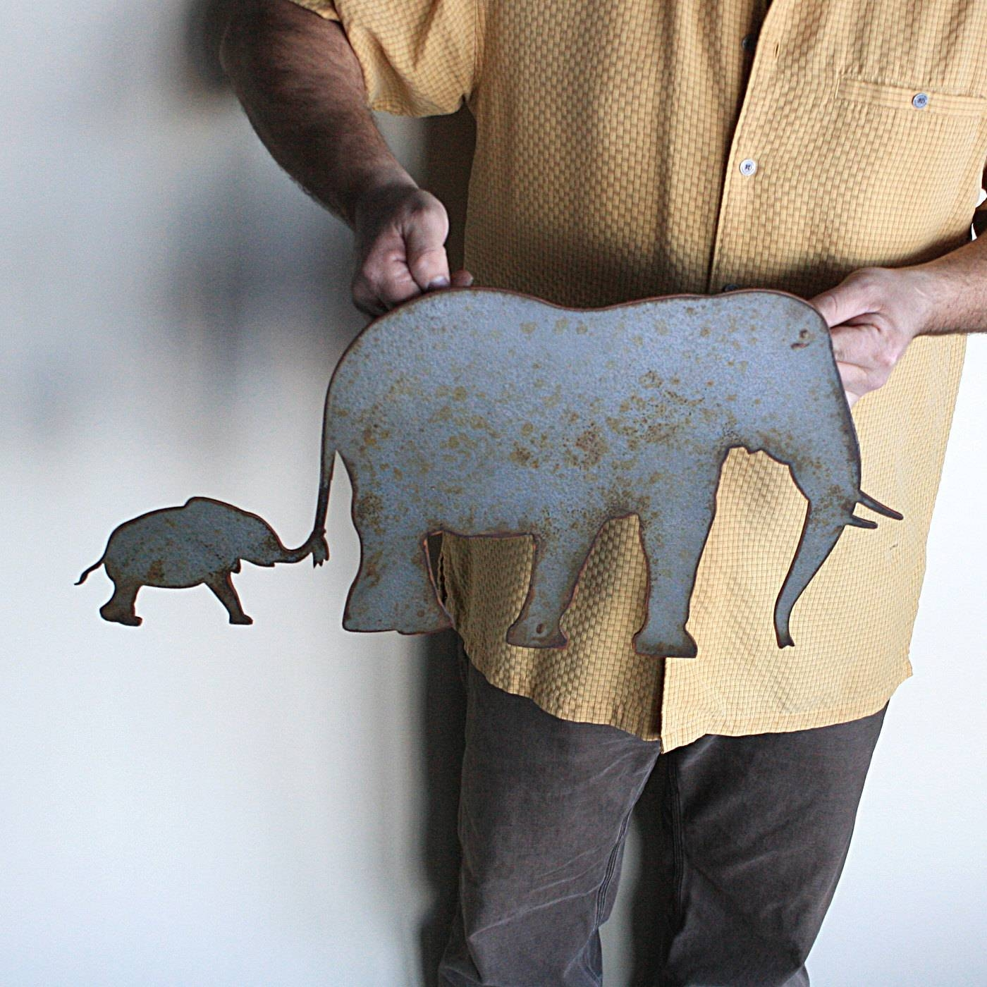 Elephant Metal Wall Art 24 Wide Wall Hanging Intended For Recent Elephant Metal Wall Art (Gallery 3 of 20)