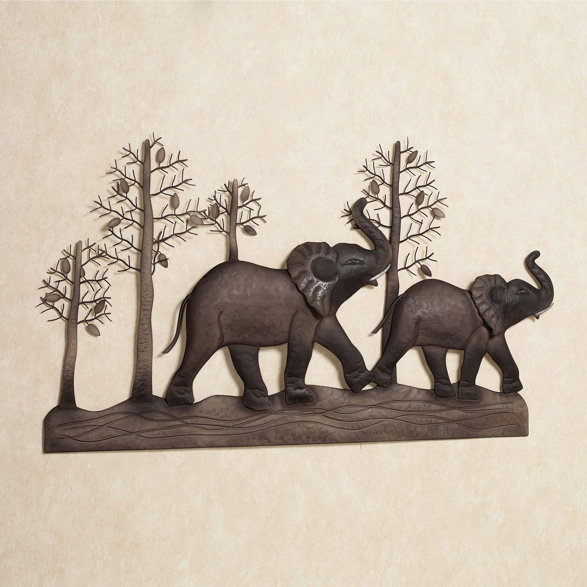 Elephant Metal Wall Art For Most Popular Safari Metal Wall Art (Gallery 3 of 20)