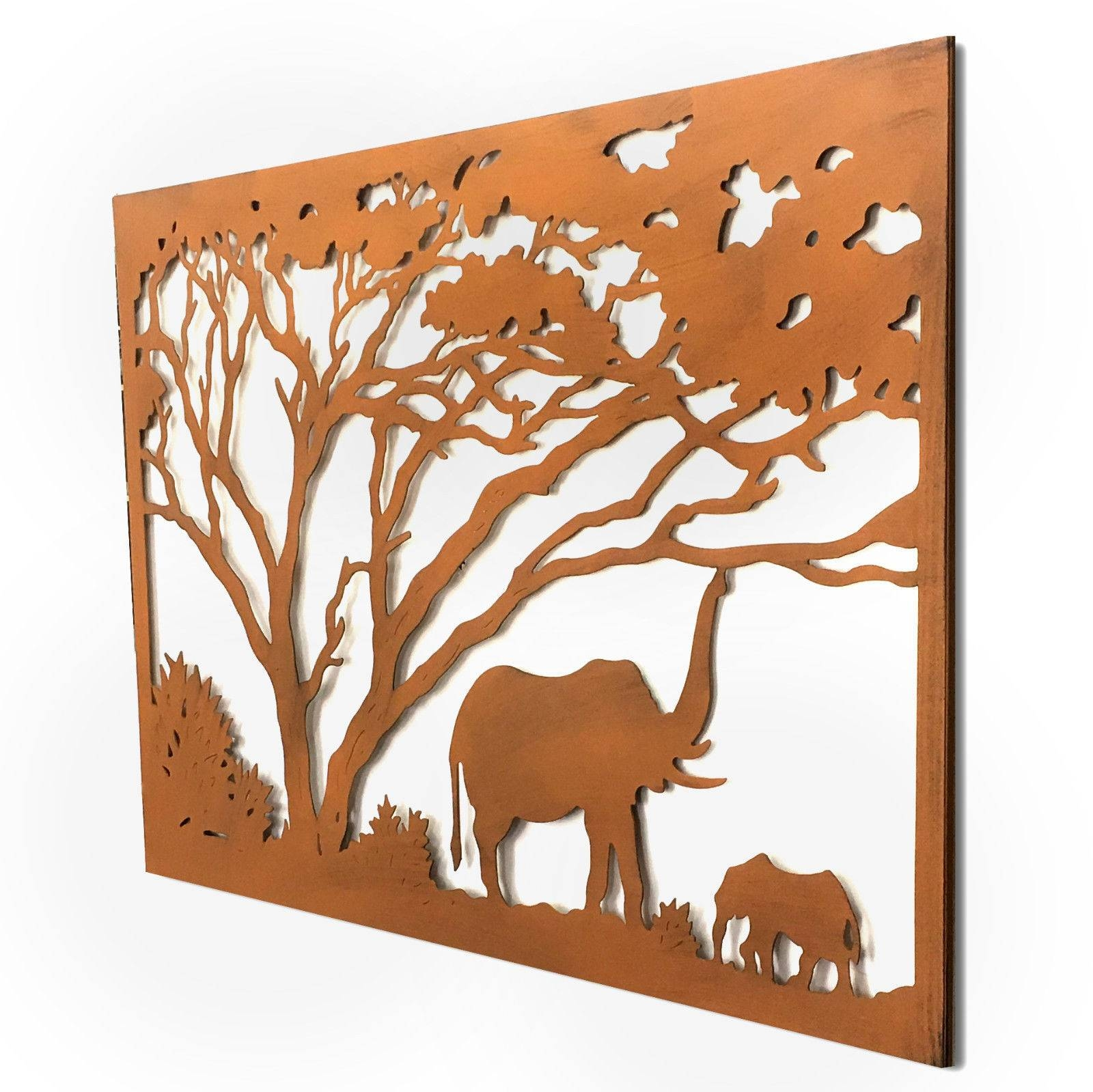 Elephants Under The Trees Lasercut Metal Wall Art 123Cm With Regard To Best And Newest Elephant Metal Wall Art (Gallery 5 of 20)