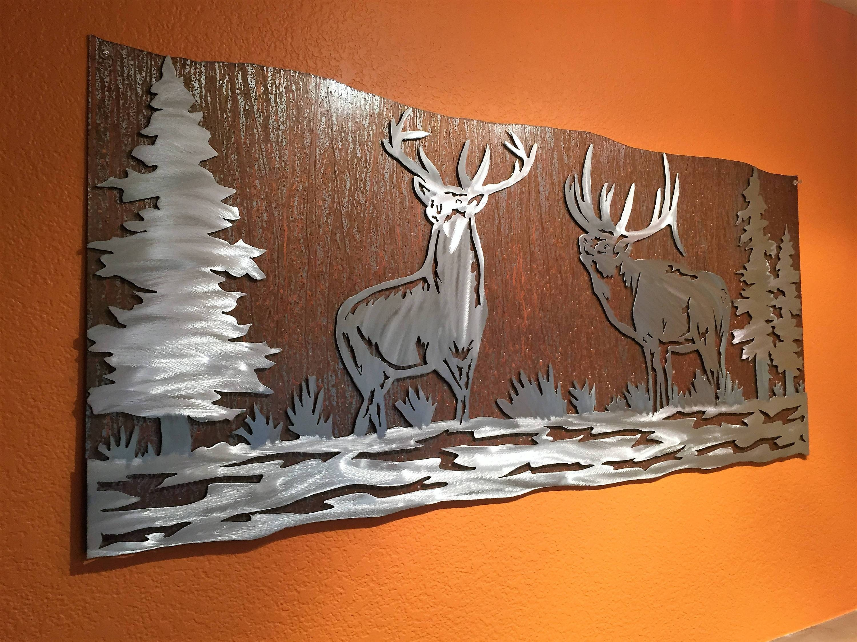 Elk Artwork. Metal Wall Art, Nature Scene, Wildlife, Forest, Bear Within 2018 Nature Metal Wall Art (Gallery 6 of 20)