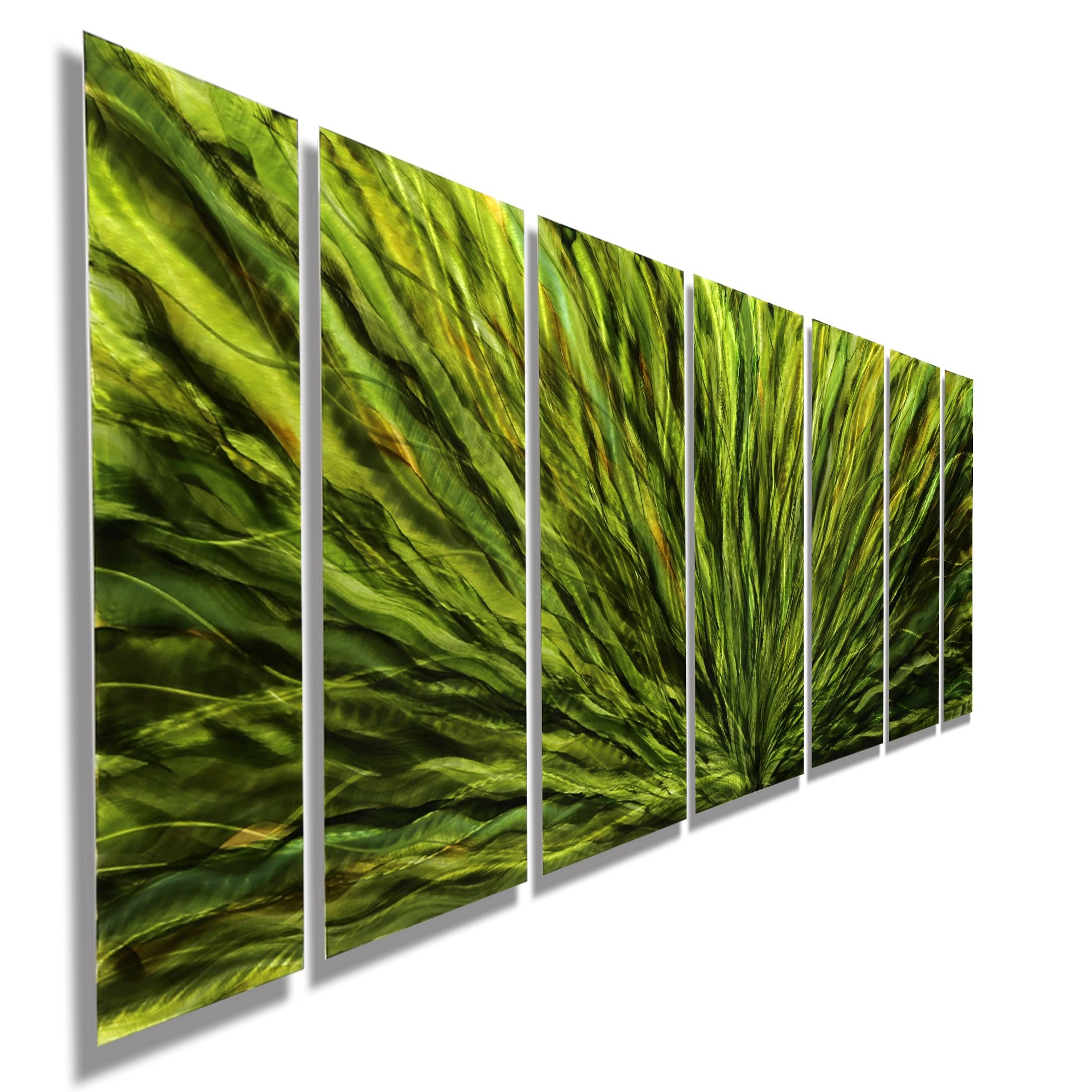 Emerald Plumage – Vivid Green Hand Painted, 7 Piece Metal Wall Art Inside Recent Green Metal Wall Art (View 9 of 20)