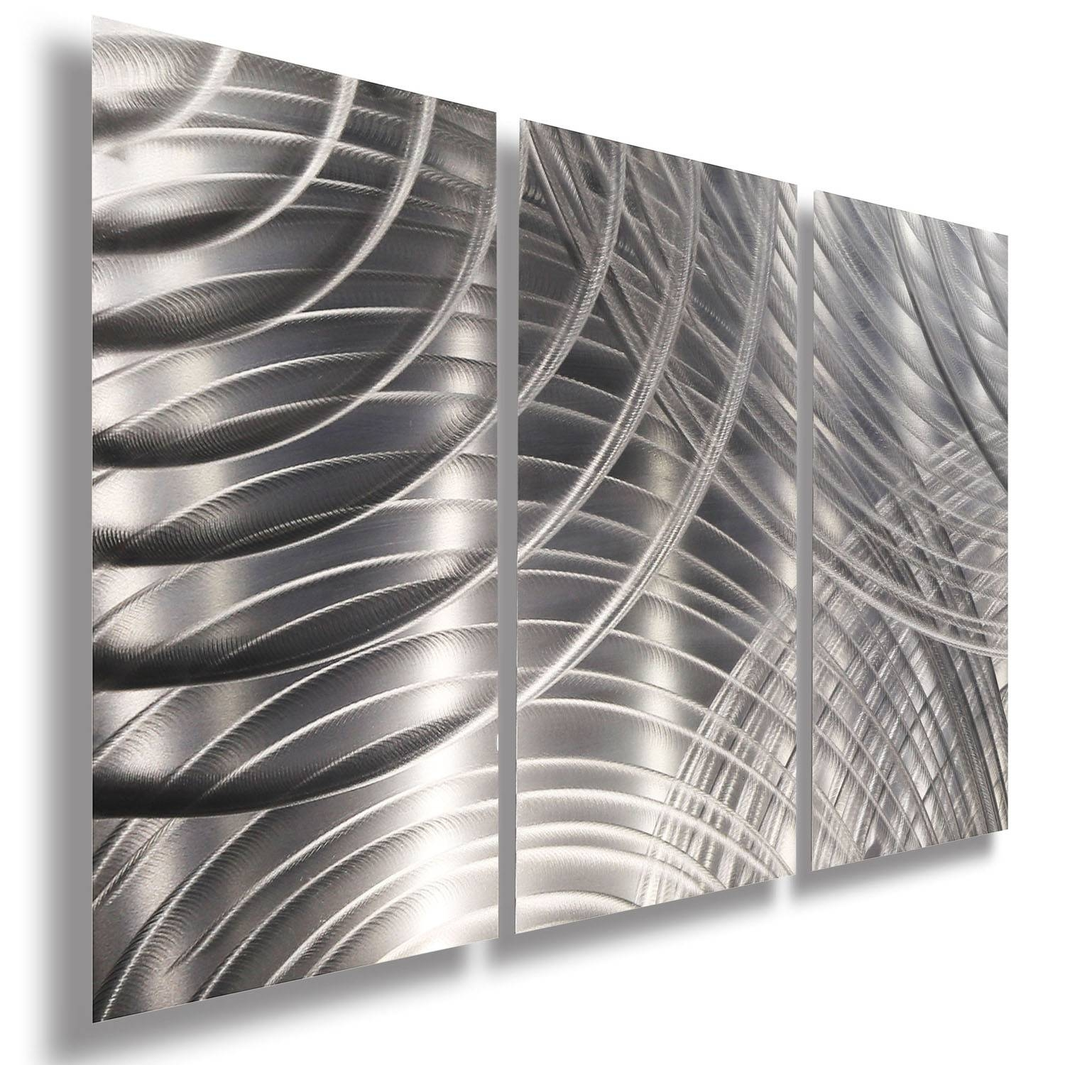 Equinox Ii 3P – All Silver 3 Panel Metal Wall Art Accentjon Intended For Recent Silver Metal Wall Art (View 2 of 20)