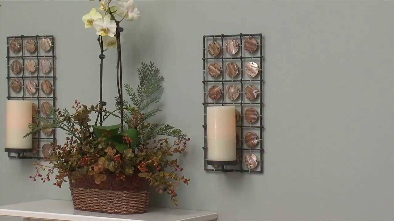 Equinox Mother Of Pearl Flameless Pillar Candle Sconces Set Of 2 In Latest Metal Wall Art With Candle Holders (View 6 of 20)