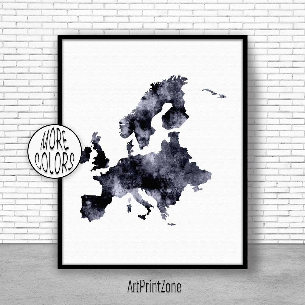 Europe Map Europe Print Europe Continent Map Of Europe Map Wall Within Most Current Europe Map Wall Art (View 12 of 20)