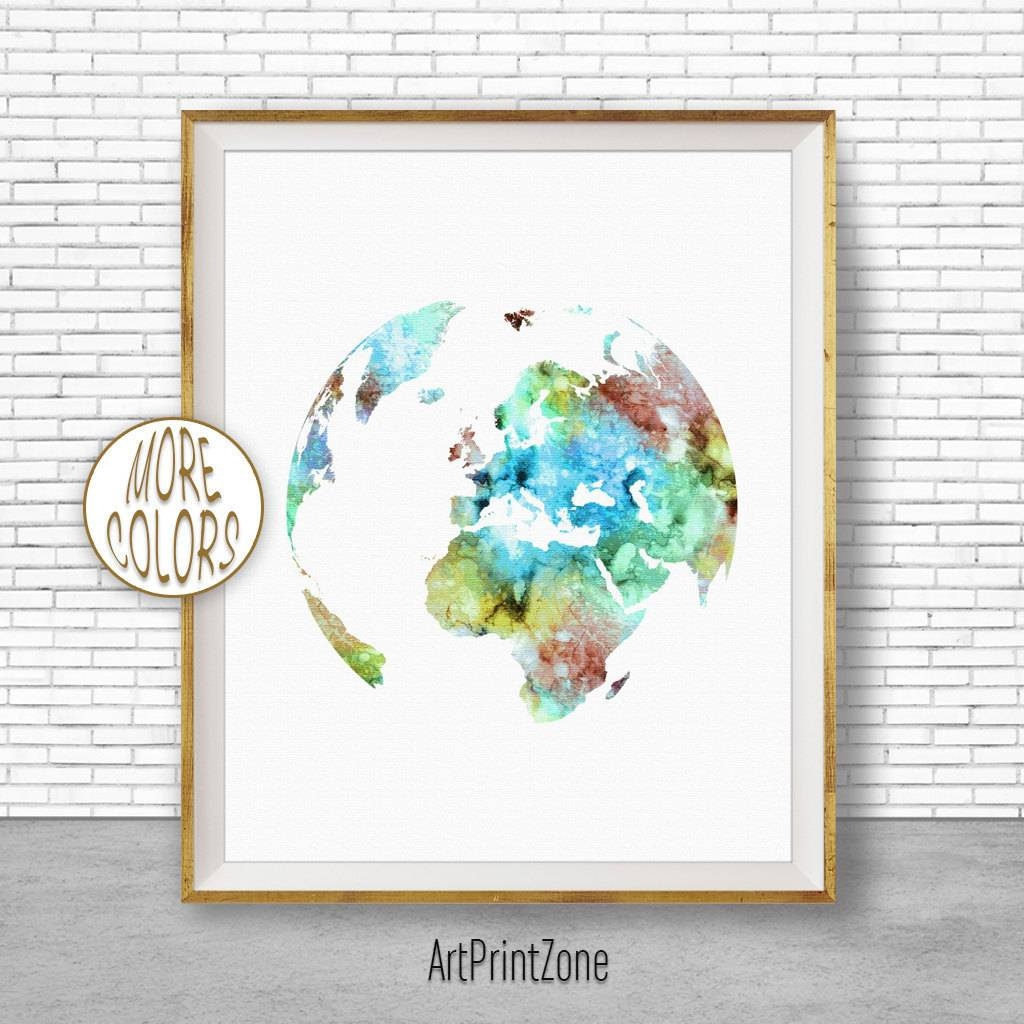 Europe Map Globe Art Europe Print Globe Print Globe Decor World Intended For 2017 Europe Map Wall Art (View 6 of 20)