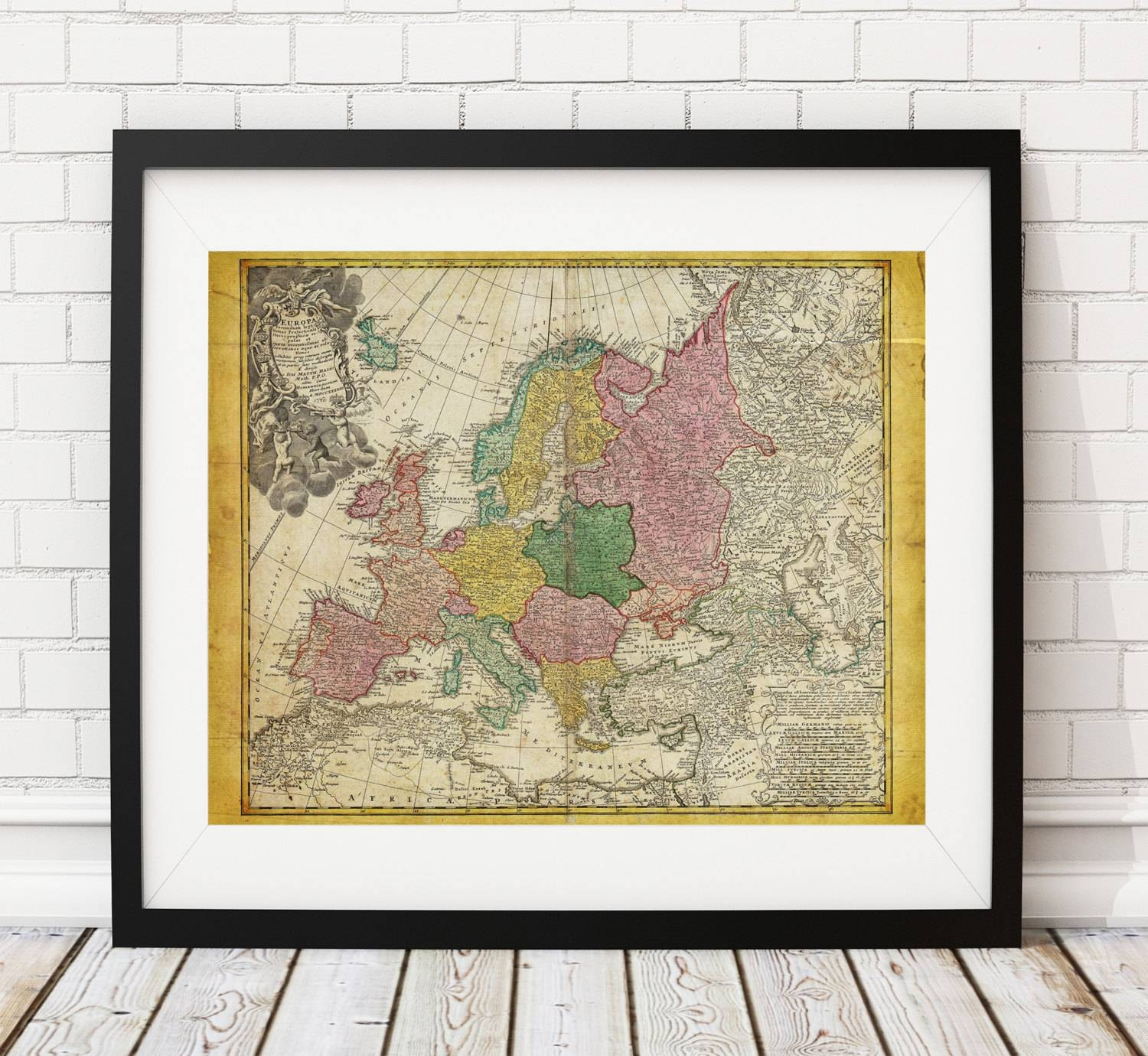 Europe Map Print, Vintage Map Art, Antique Map, Wall Art, History Intended For Recent Europe Map Wall Art (View 7 of 20)