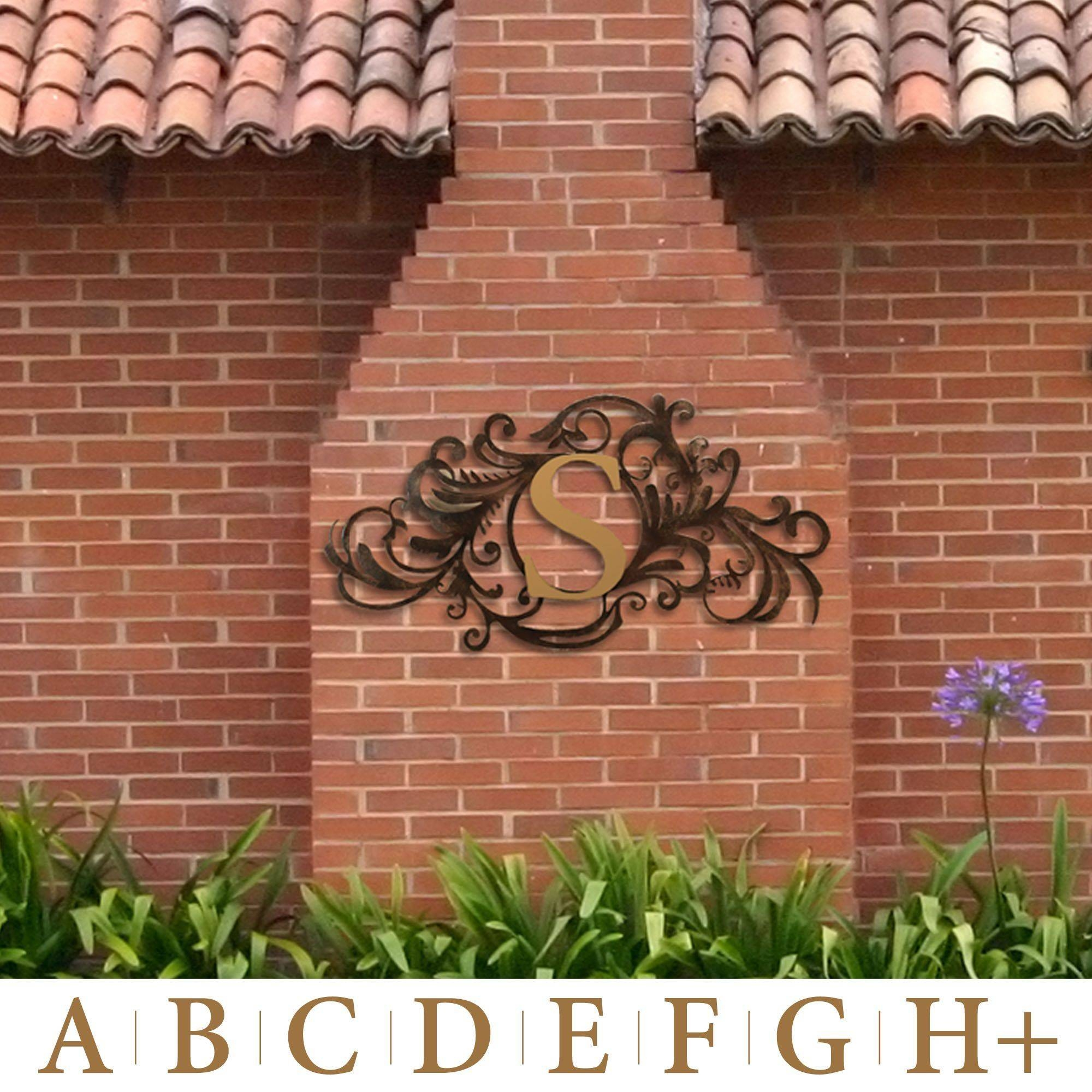 Evanston Indoor Outdoor Monogram Metal Wall Art Sign Throughout Best And Newest Metal Wall Art For Outdoors (Gallery 17 of 20)