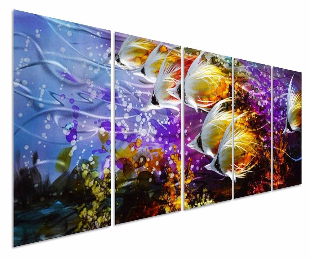 Everfun Art Handcraft Metal Wall Art Colorful Ocean Landscape With Regard To 2018 Colorful Metal Wall Art (View 12 of 20)