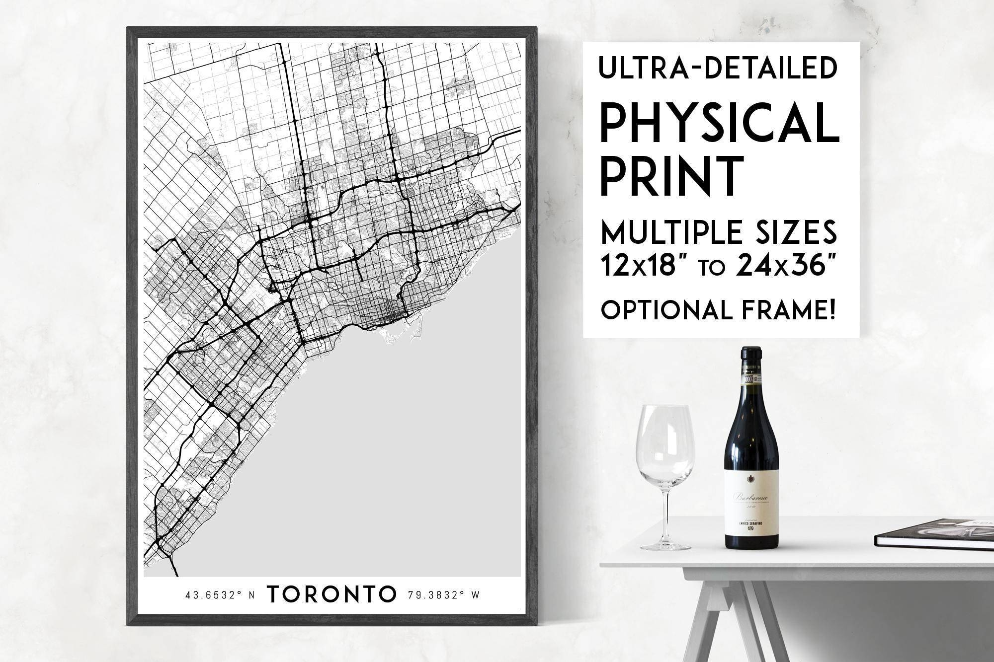 Every Road In Toronto Print Physical Toronto Map Print With Most Recent Toronto Map Wall Art (View 1 of 20)