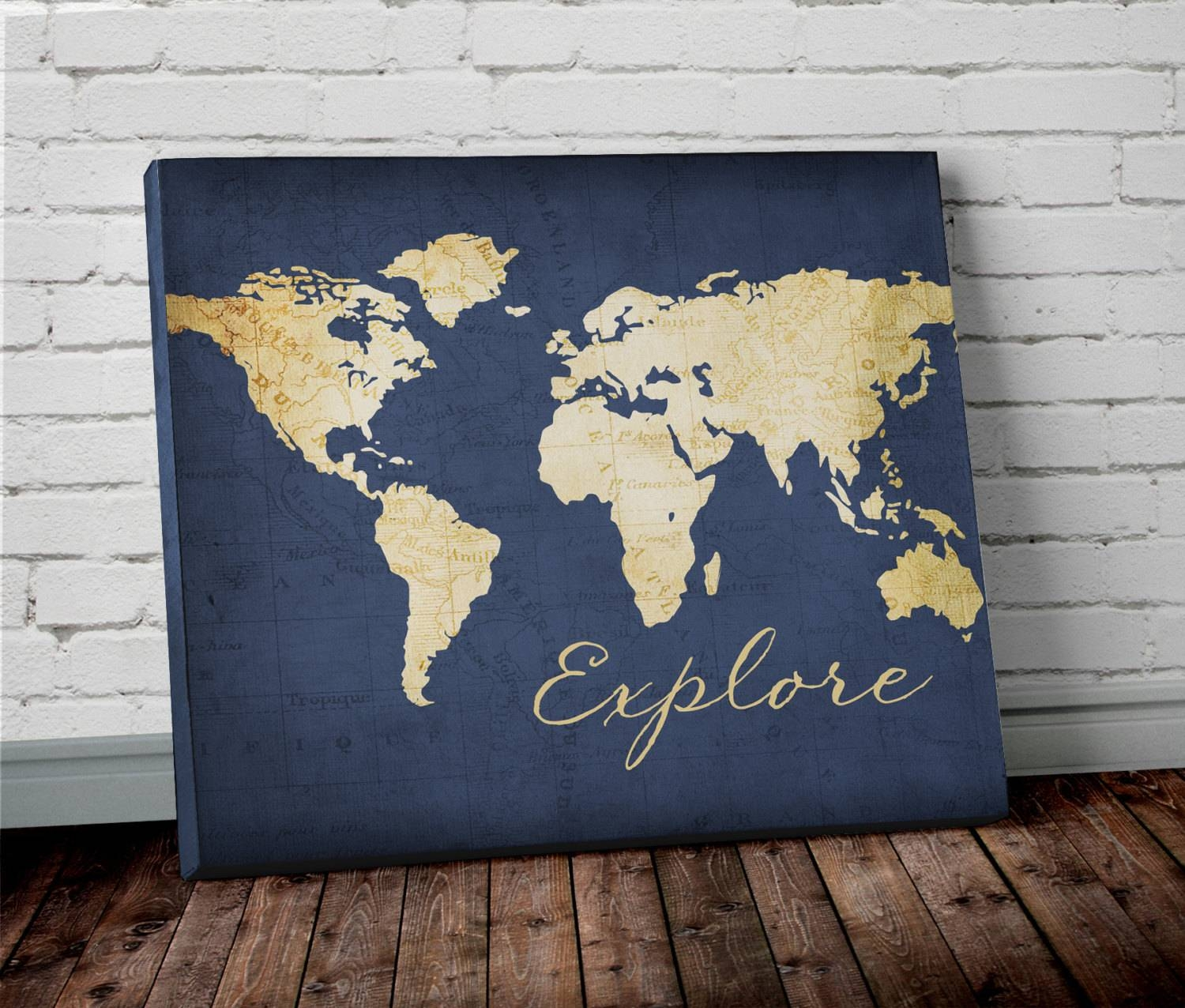 Explore World Map Wall Art Canvas World Map Print In Navy Throughout Most Recently Released Map Wall Art Prints (View 4 of 20)