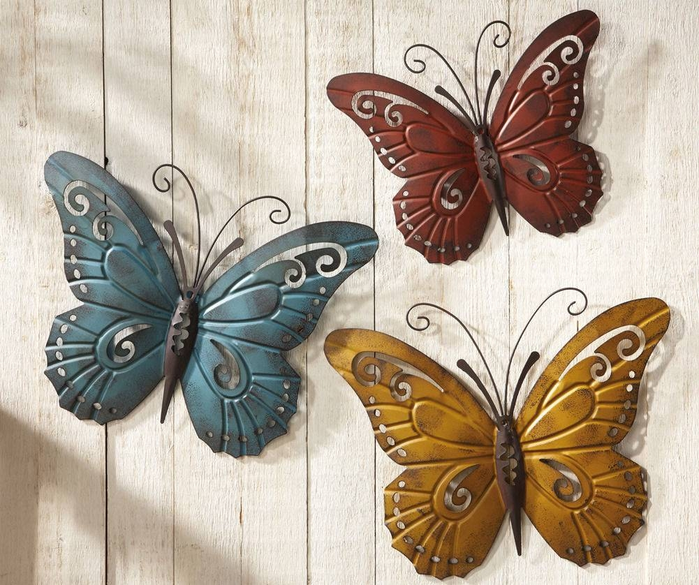 Exterior Wall Murals Garden Wall Hangings Outdoor Wall Plaques With Regard To Latest Butterflies Metal Wall Art (View 7 of 20)