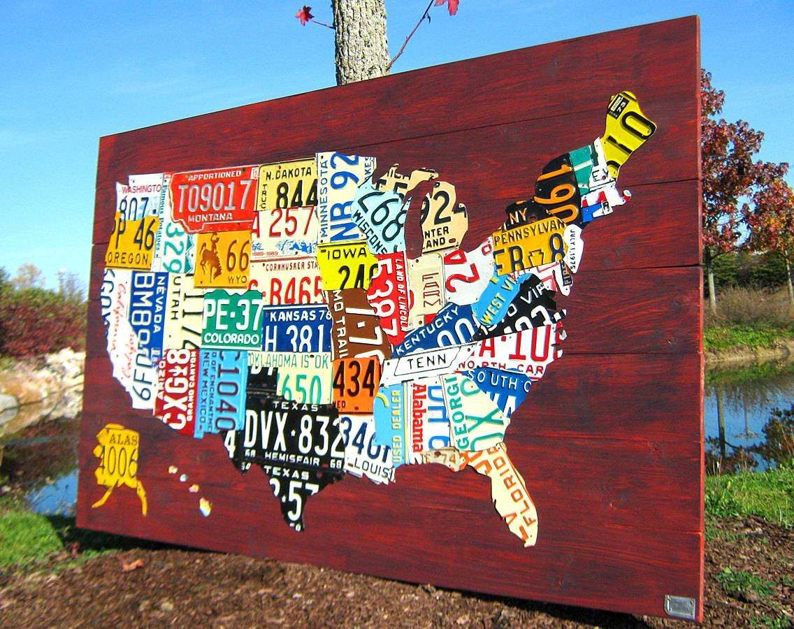 Extra Large License Plate Map Of The United States 60 X Regarding Most Recent License Plate Map Wall Art (View 8 of 20)