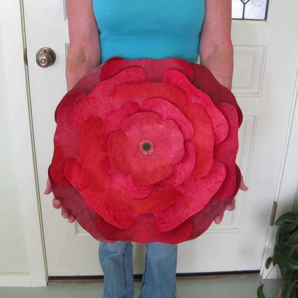 Extra Large Metal Wall Sculpture Flower Art Red Hibiscus Intended For Latest Large Round Metal Wall Art (View 4 of 20)