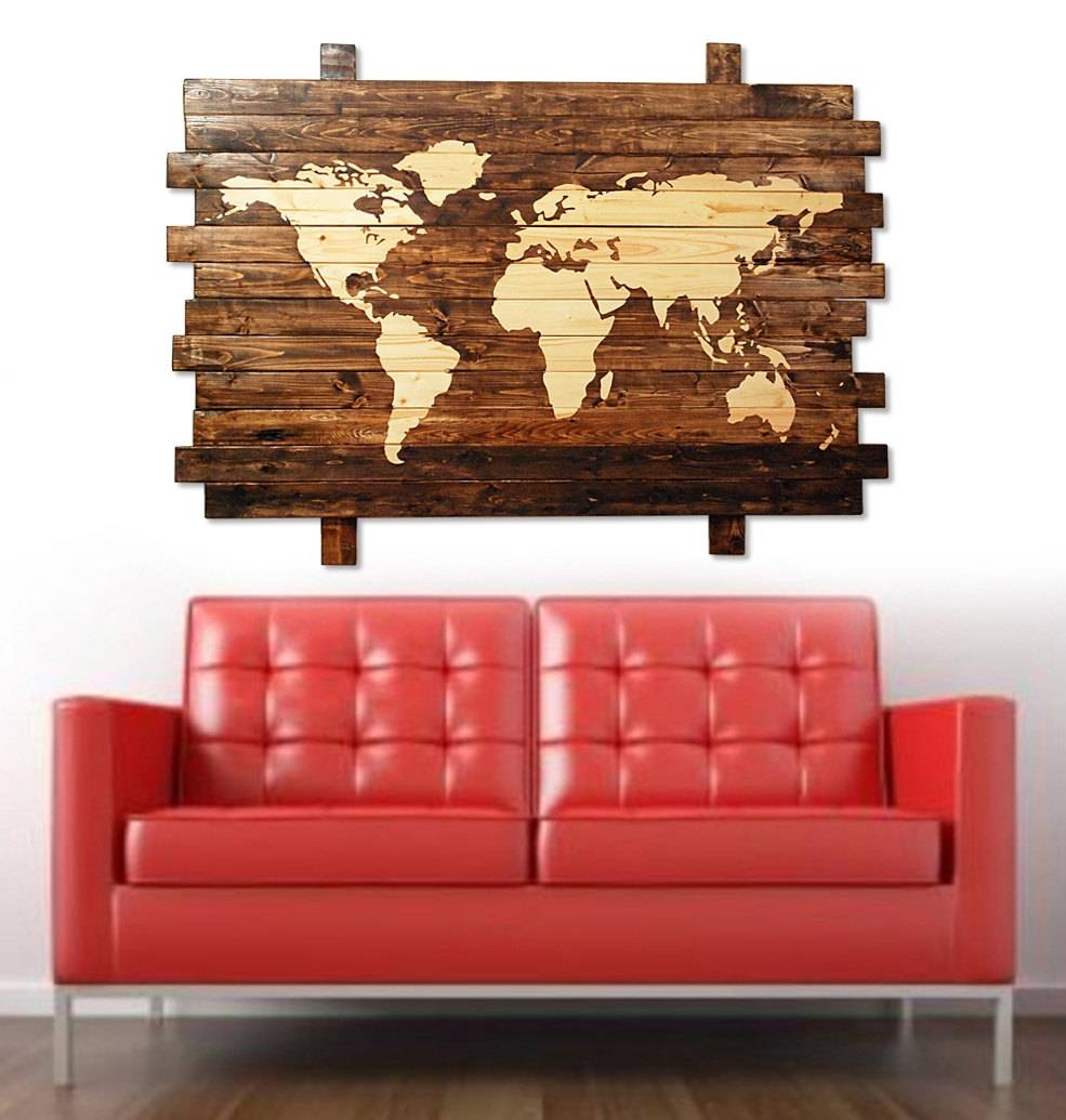 Extra Large Rustic Stained Wood World Map Wall Art 50 Intended For Most Popular Large World Map Wall Art (View 4 of 20)