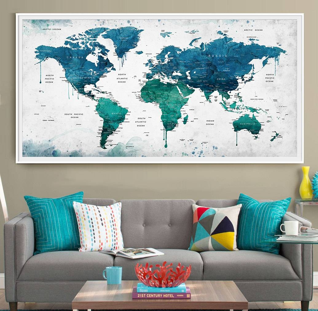 Extra Large Watercolor Push Pin Map Poster Print World Map Throughout Most Popular Map Wall Artwork (View 6 of 20)
