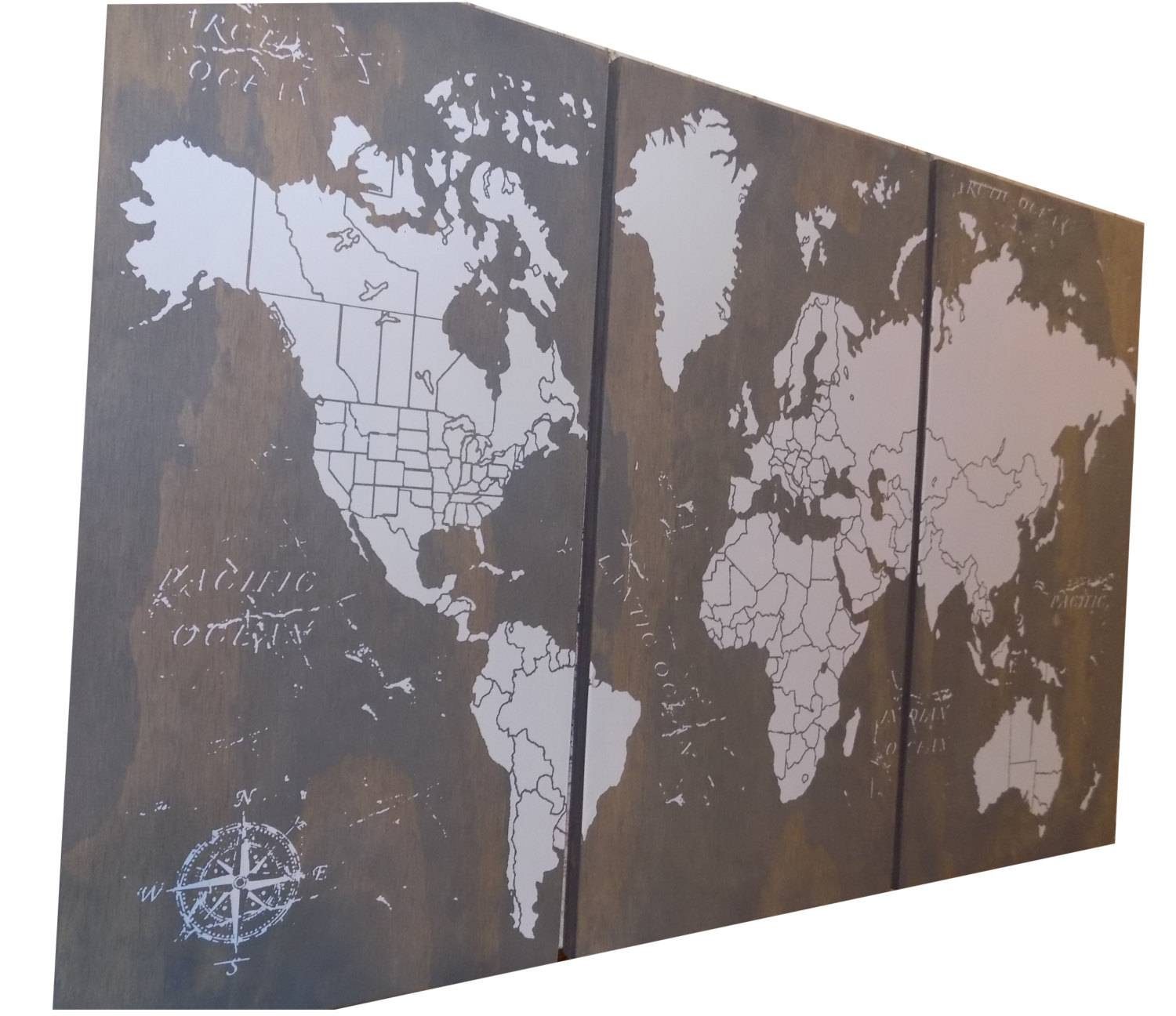Extra Large World Push Pin Travel Map With Us Borders 3' Throughout 2018 Travel Map Wall Art (Gallery 15 of 20)