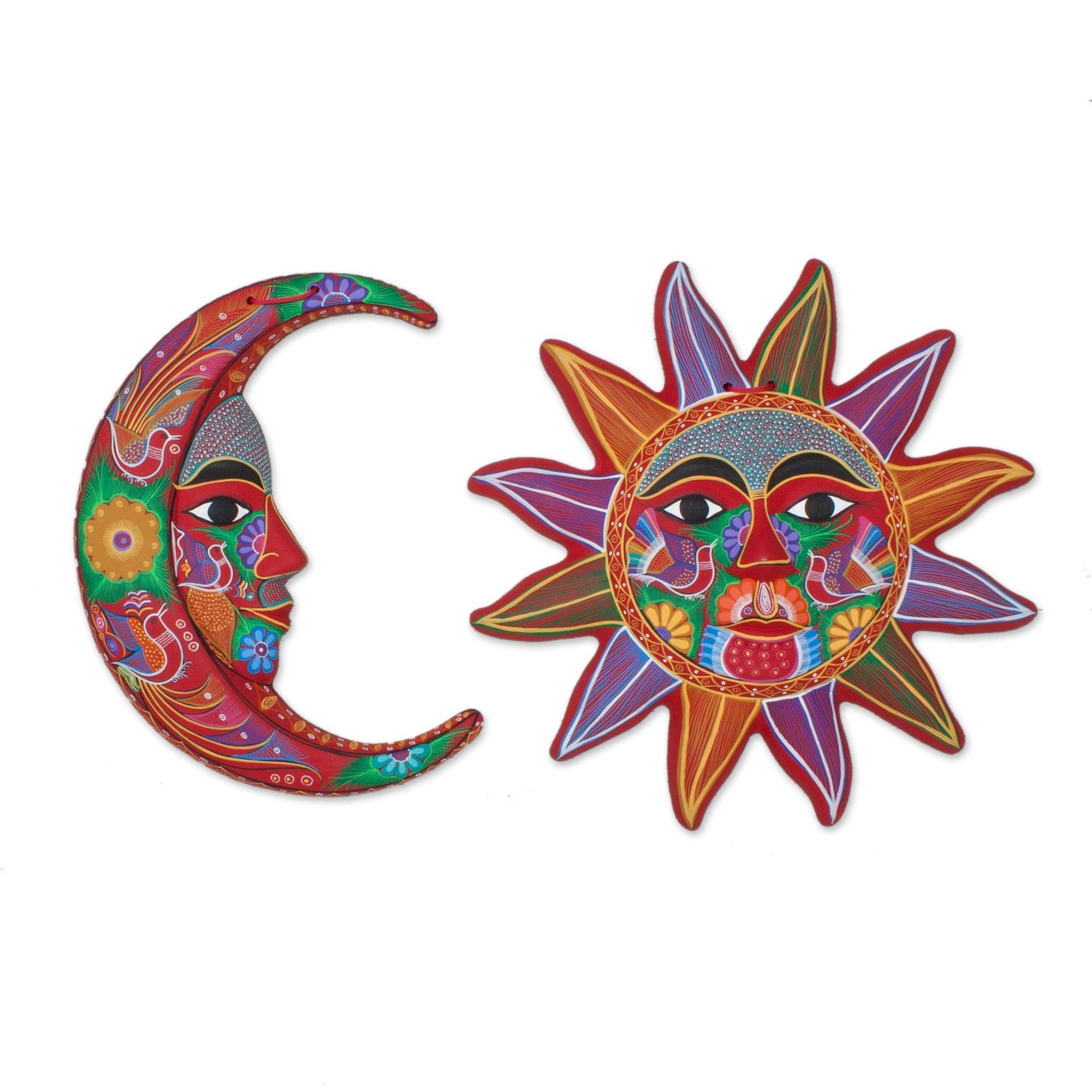 Fair Trade Sun And Moon Ceramic Wall Art From Mexico (Pair Intended For Recent Sun And Moon Metal Wall Art (Gallery 10 of 20)