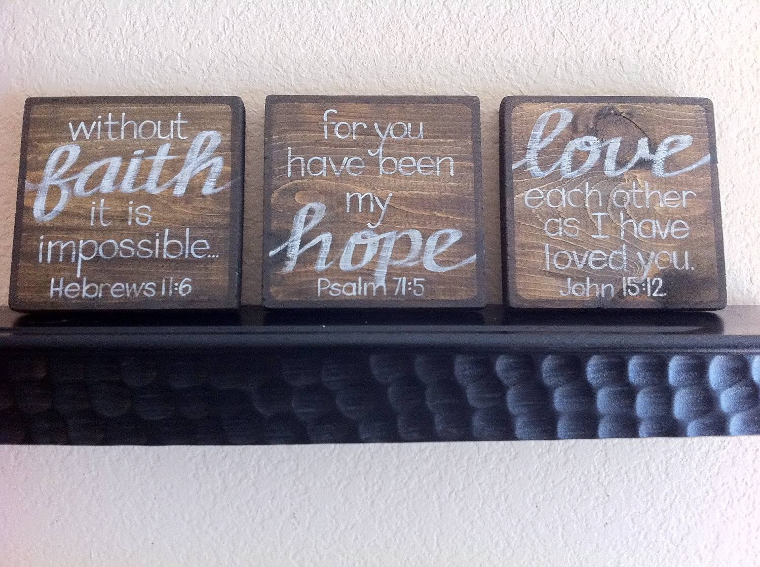 Faith Hope Love Wall Decor White Wall Rectangular Wooden Shelves Regarding Most Up To Date Faith Hope Love Metal Wall Art (Gallery 12 of 20)