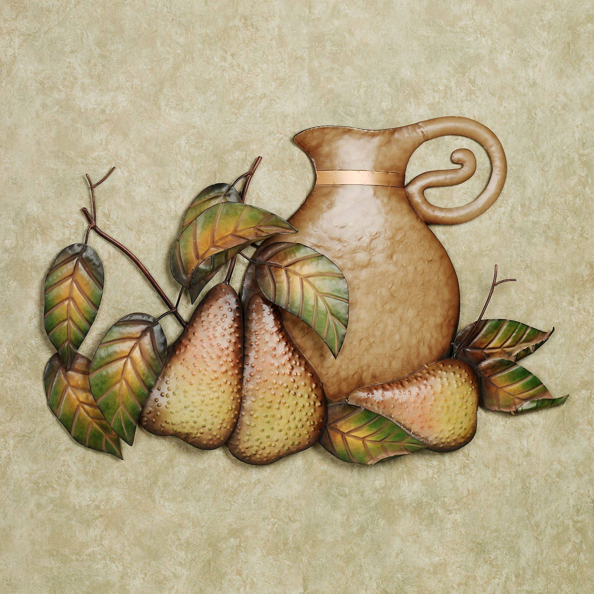 Fall Feast Pears Metal Wall Art Sculpture Throughout Most Recent Metal Wall Art For Kitchen (View 10 of 20)