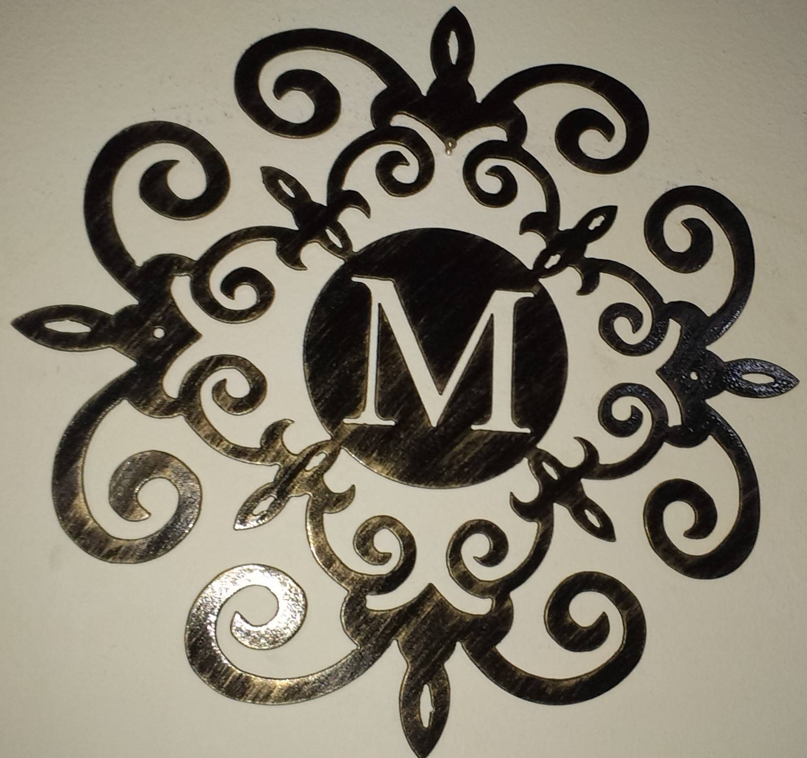 Family Initial, Monogram Inside A Metal Scroll With M Letter, 30 Within Newest Monogram Metal Wall Art (View 20 of 20)