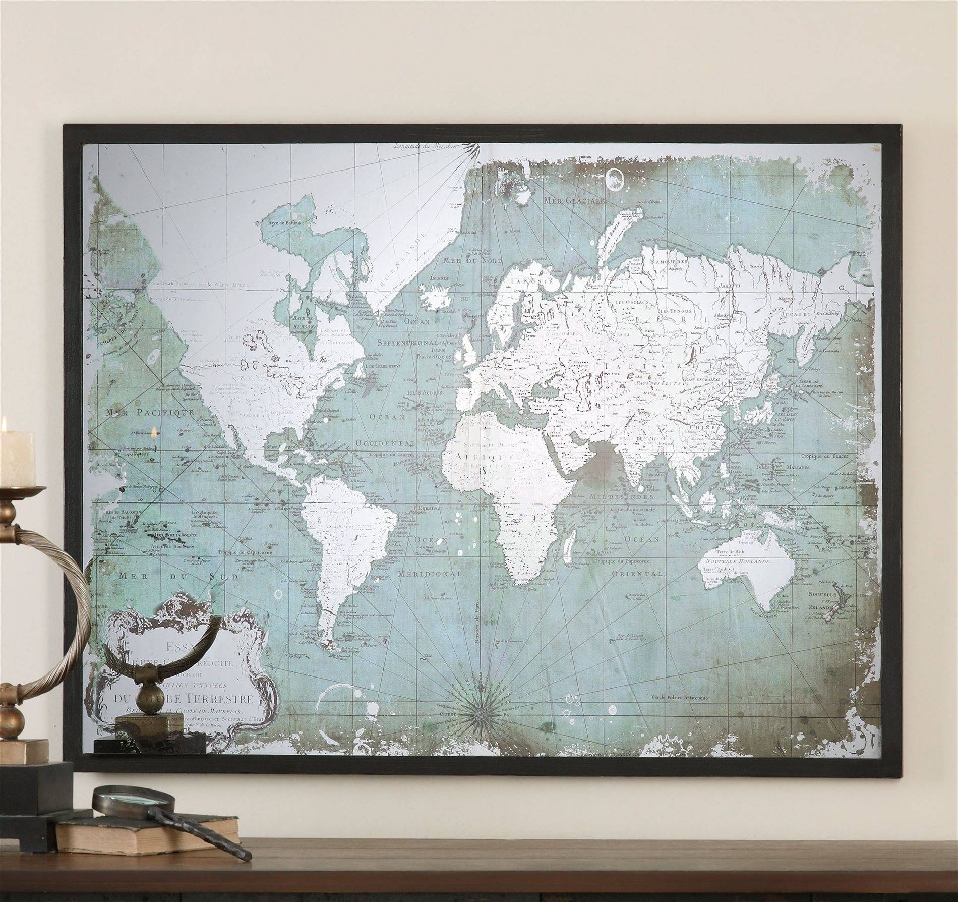 Family World Map Wall Decal Art | Design Idea And Decorations In 2018 Framed Map Wall Art (View 5 of 20)