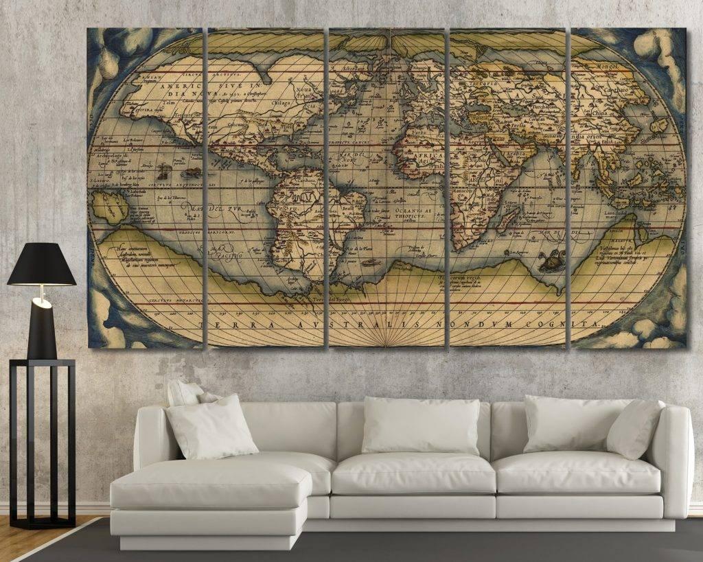 Fancy Ideas Map Wall Art Diy Canvas Uk Etsy Antique Maps Ikea Regarding Current Map Wall Art Maps (View 6 of 20)
