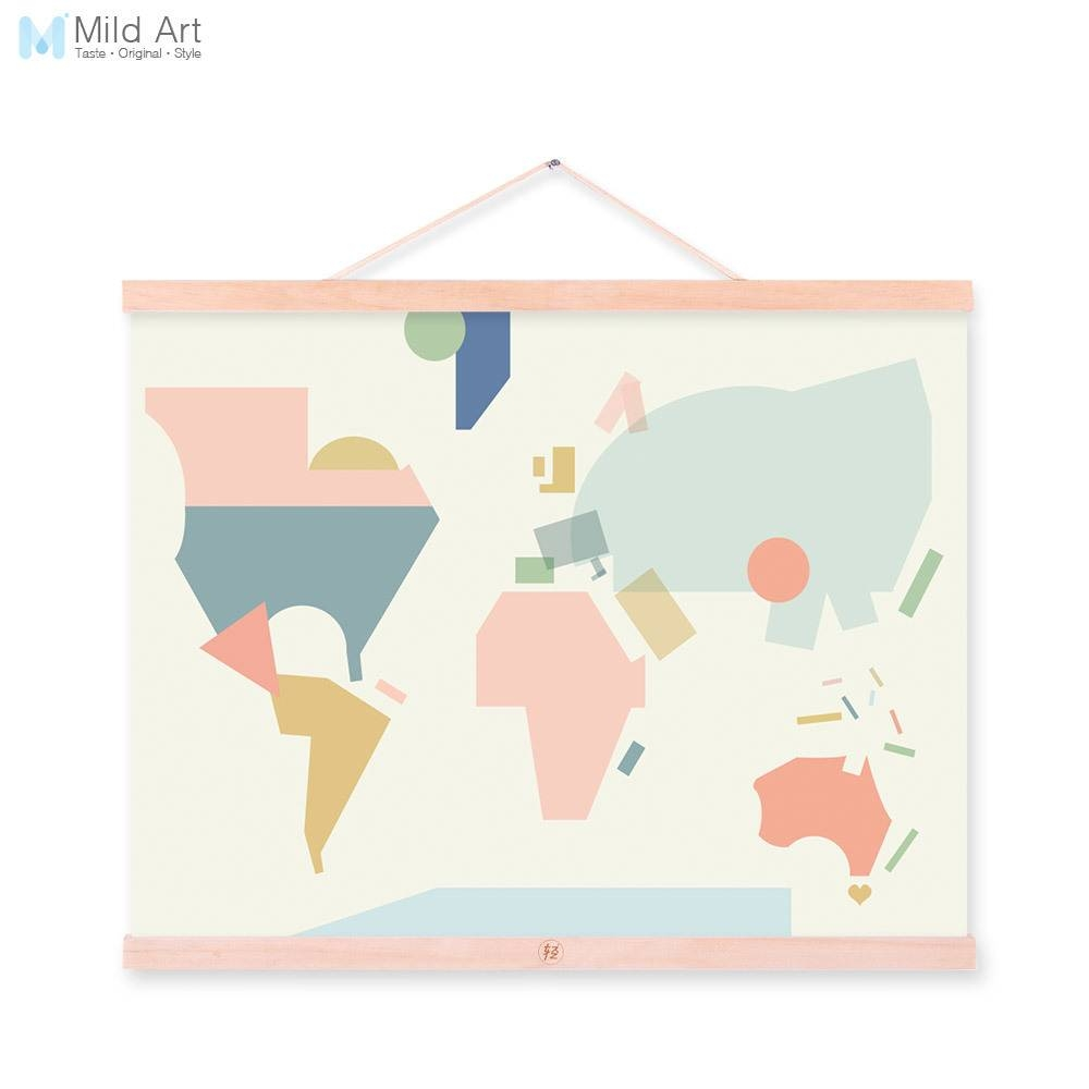 Fashion Colorful Abstract World Map Kawaii A4 Wooden Framed Canvas Throughout Current Abstract World Map Wall Art (View 19 of 20)