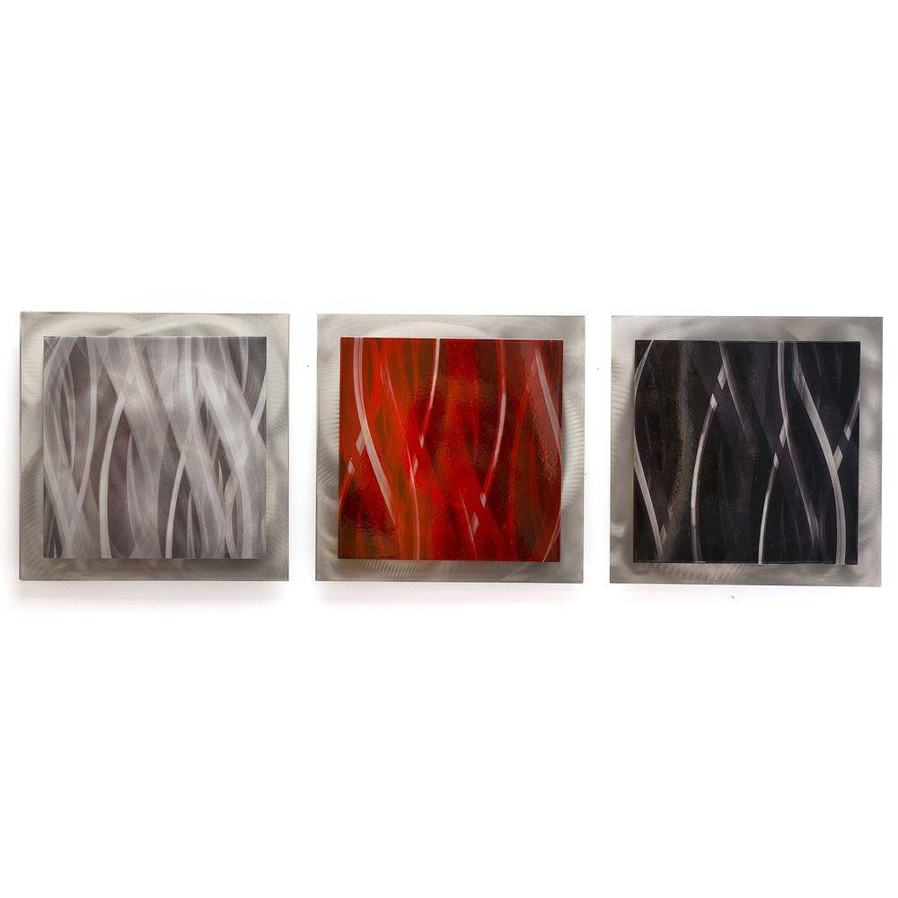 Filament Design Brevium 12 In. X 38 In. Red, Black And Silver Pertaining To Most Recently Released Metal Wall Art Sets (Gallery 17 of 20)