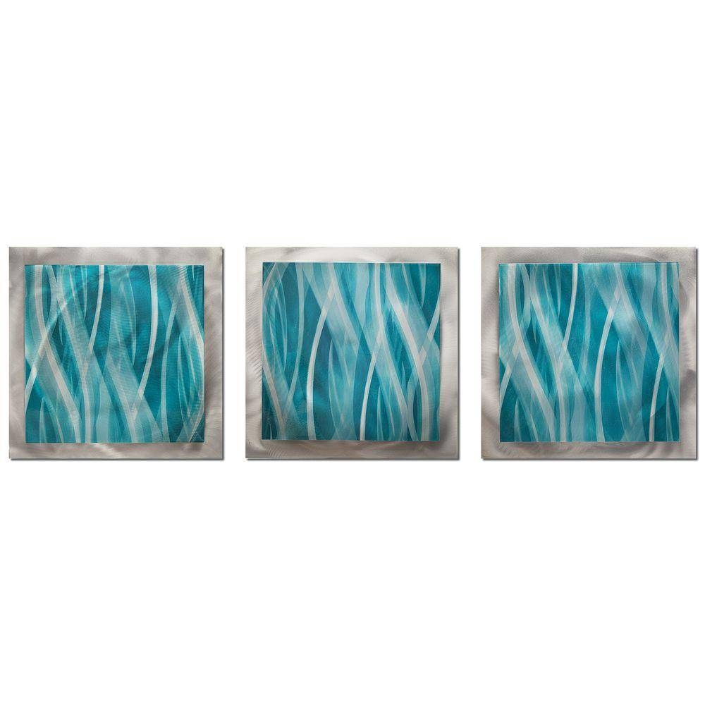 Filament Design Brevium 12 In. X 38 In. Turquoise Essence Metal Pertaining To Latest Green Metal Wall Art (Gallery 8 of 20)