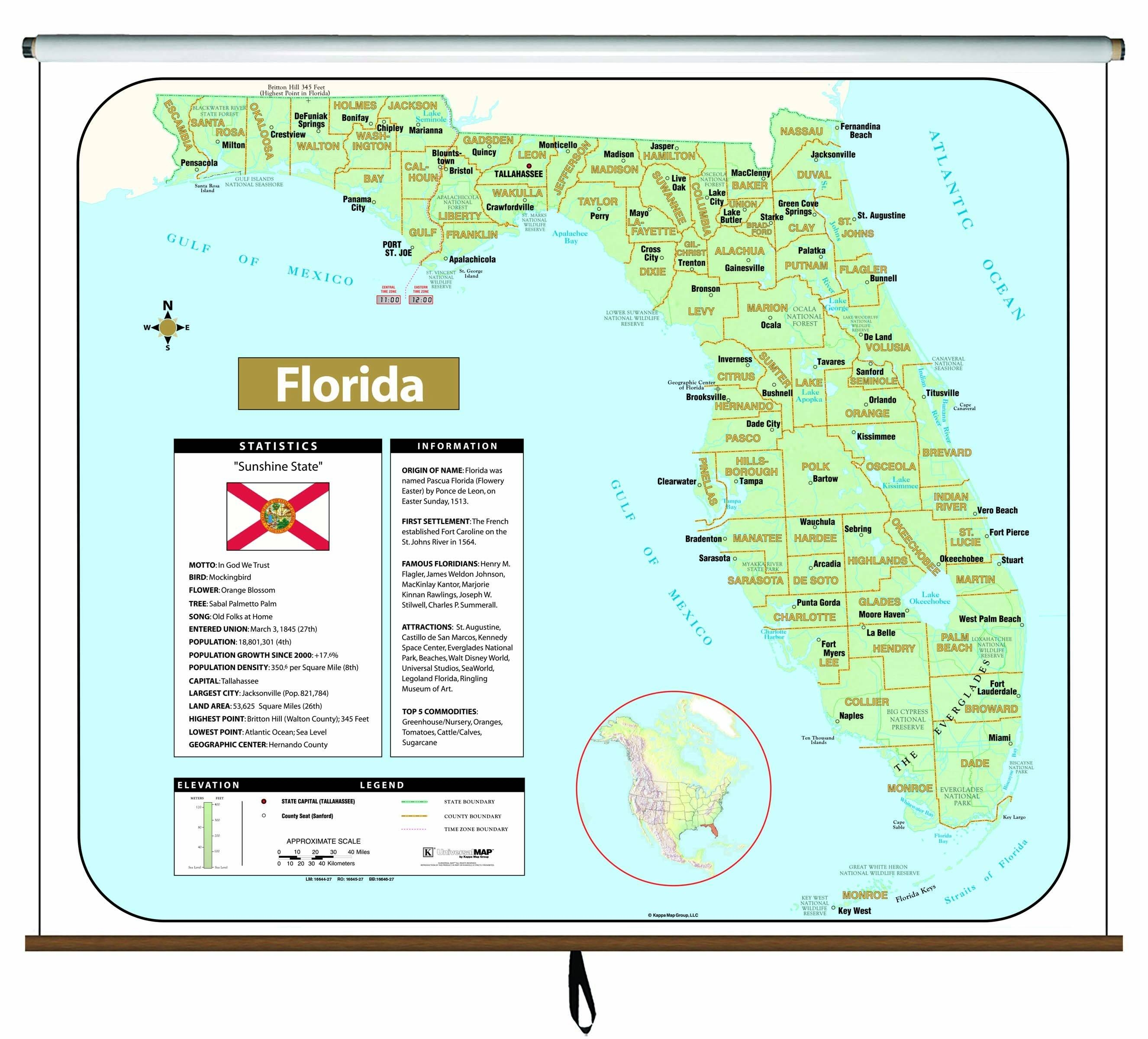 Florida Large Scale Shaded Relief Wall Map On Roller – Maps Regarding 2018 Florida Map Wall Art (View 4 of 20)