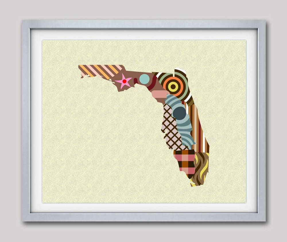 Florida Map, Florida Poster, Florida Print, Florida Painting Within Current Florida Map Wall Art (View 5 of 20)