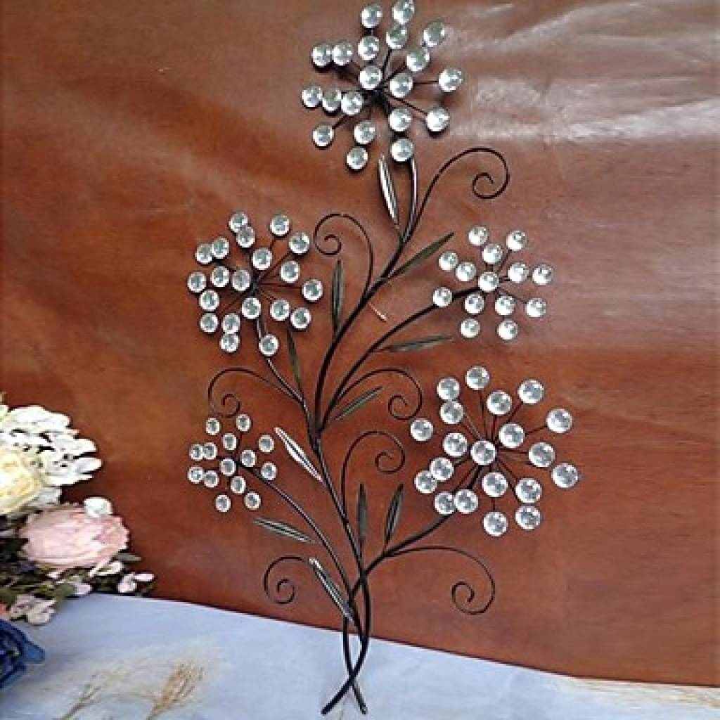Flower Wall Art Decor Lovely Crystal Wall Decor 7 Metal Flower Pertaining To Most Current Metal Wall Art With Crystals (Gallery 6 of 20)
