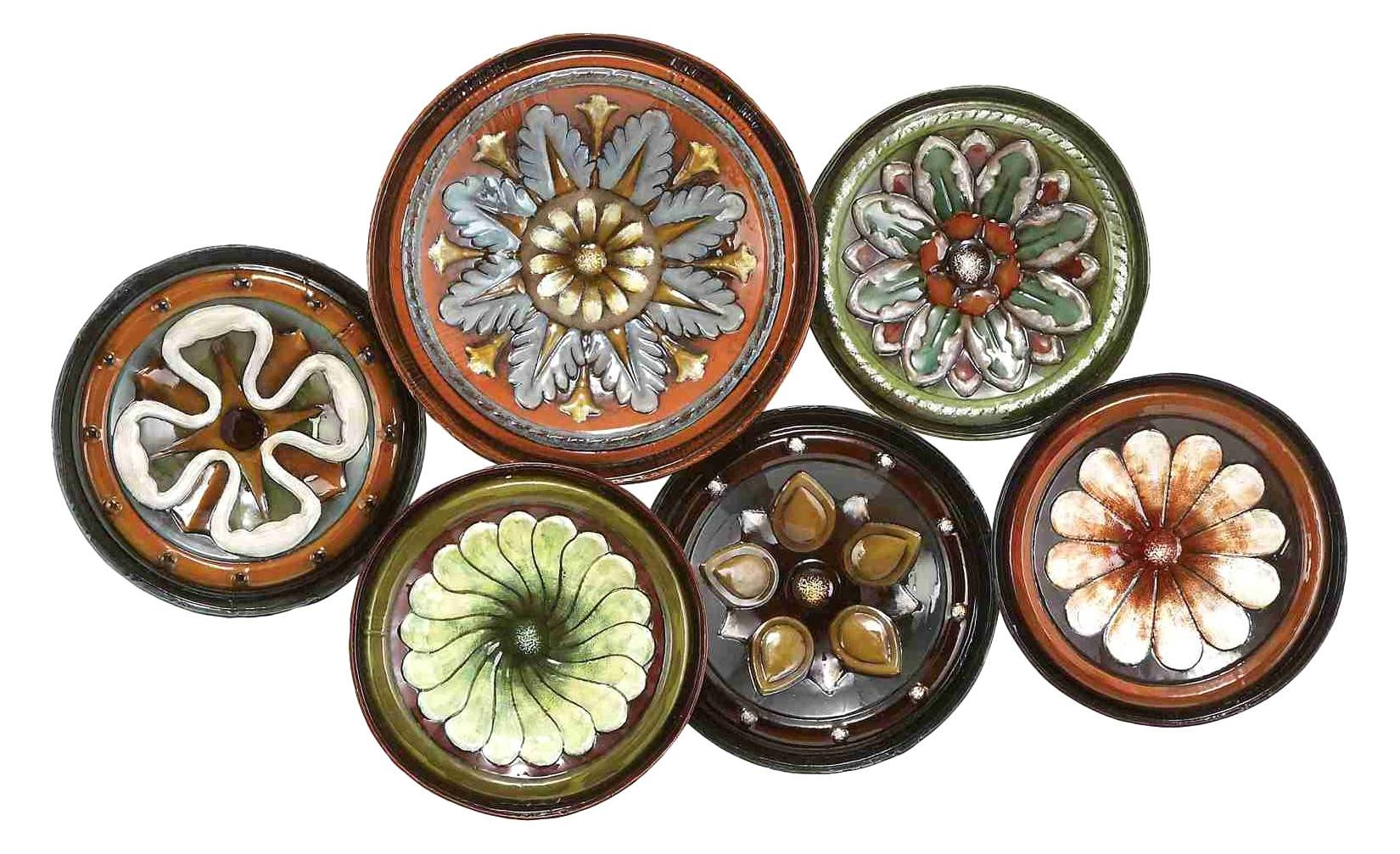 Flowery Plate Collection – Floral Metal Wall Art Intended For Most Popular India Metal Wall Art (Gallery 18 of 20)