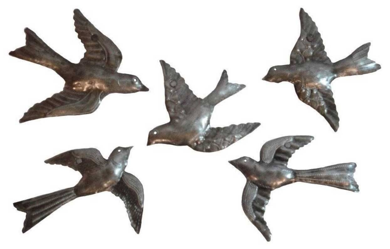 Flying Birds Metal Wall Art Sculpture 5 Small Flock Birds | Home With Most Current Metal Wall Art Birds In Flight (View 4 of 20)