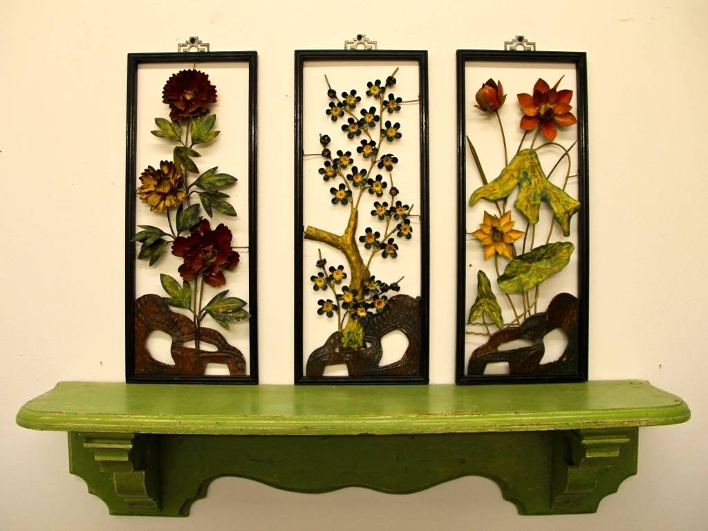 Found In Ithaca » Set Of Three Mid Century Hong Kong Metal Wall Within Latest Painted Metal Wall Art (Gallery 3 of 20)