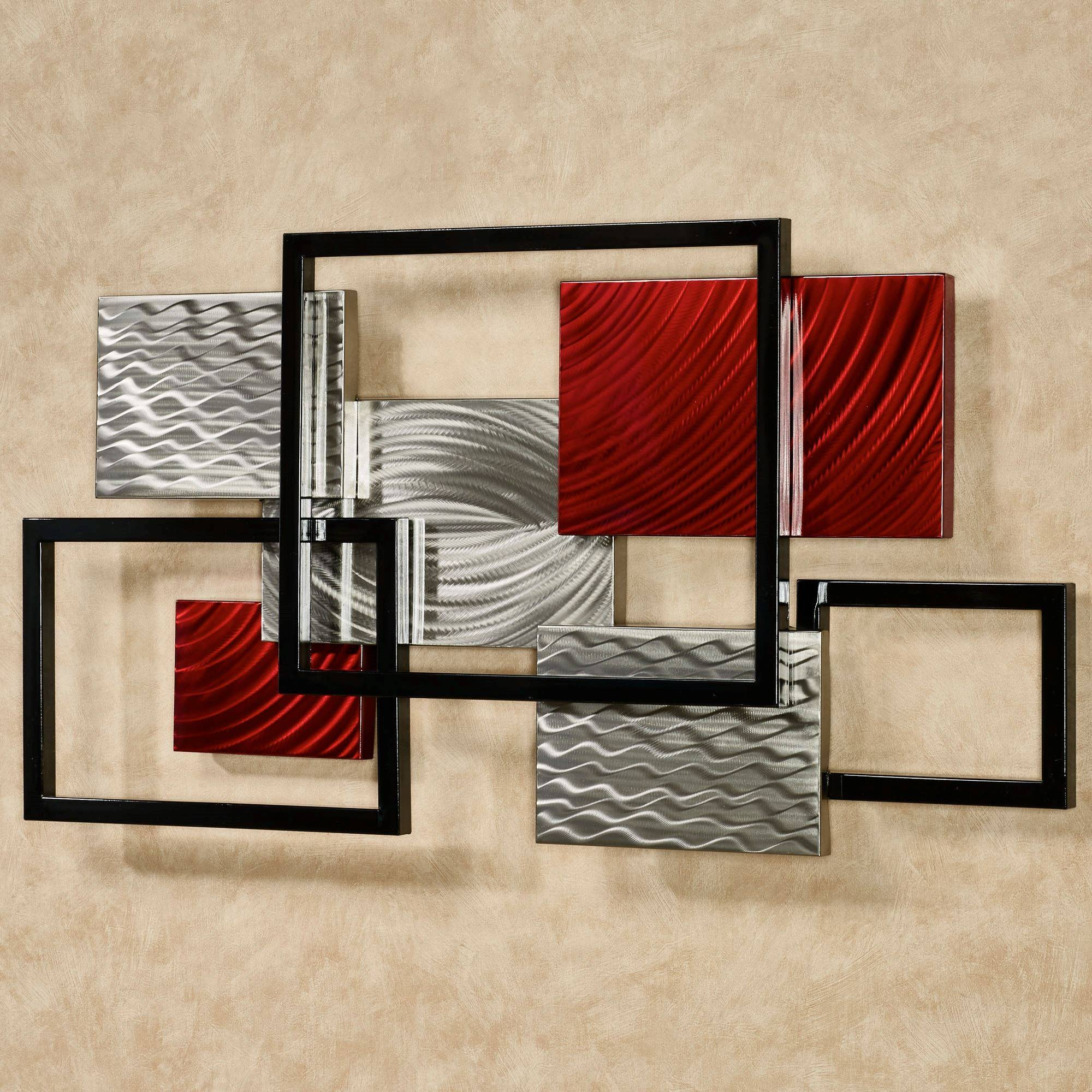 Framed Array Indoor Outdoor Abstract Metal Wall Sculpture With Regard To Most Recent Red Metal Wall Art (Gallery 6 of 20)